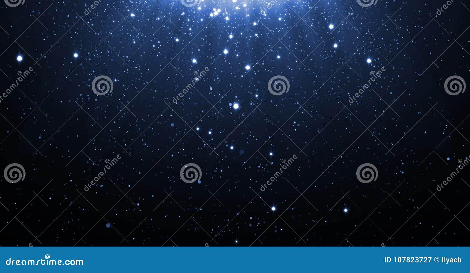 Het blauw schittert deeltjesachtergrond met glanzende neonsterren die neer en licht gloed of glansbekledingseffect hierboven voor