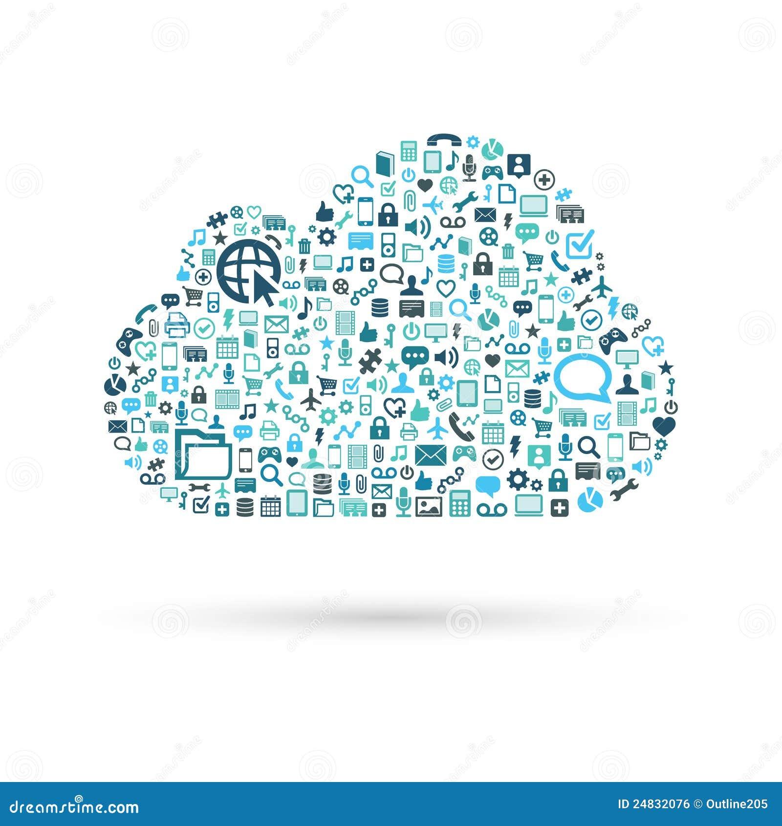 Het blauw van het de gegevensverwerkingsconcept van de wolk