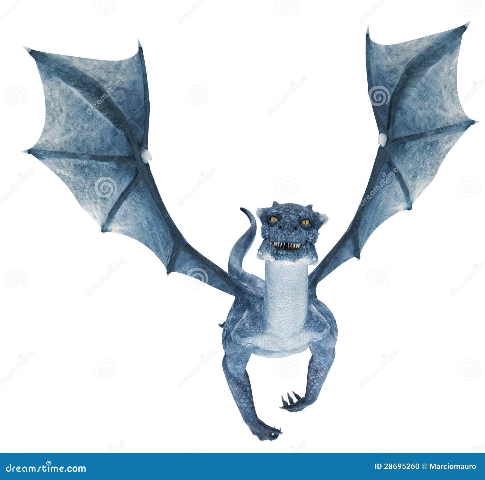 De Blauwe Draak.Het Blauwe Draak Vliegen Stock Illustratie Illustratie Bestaande