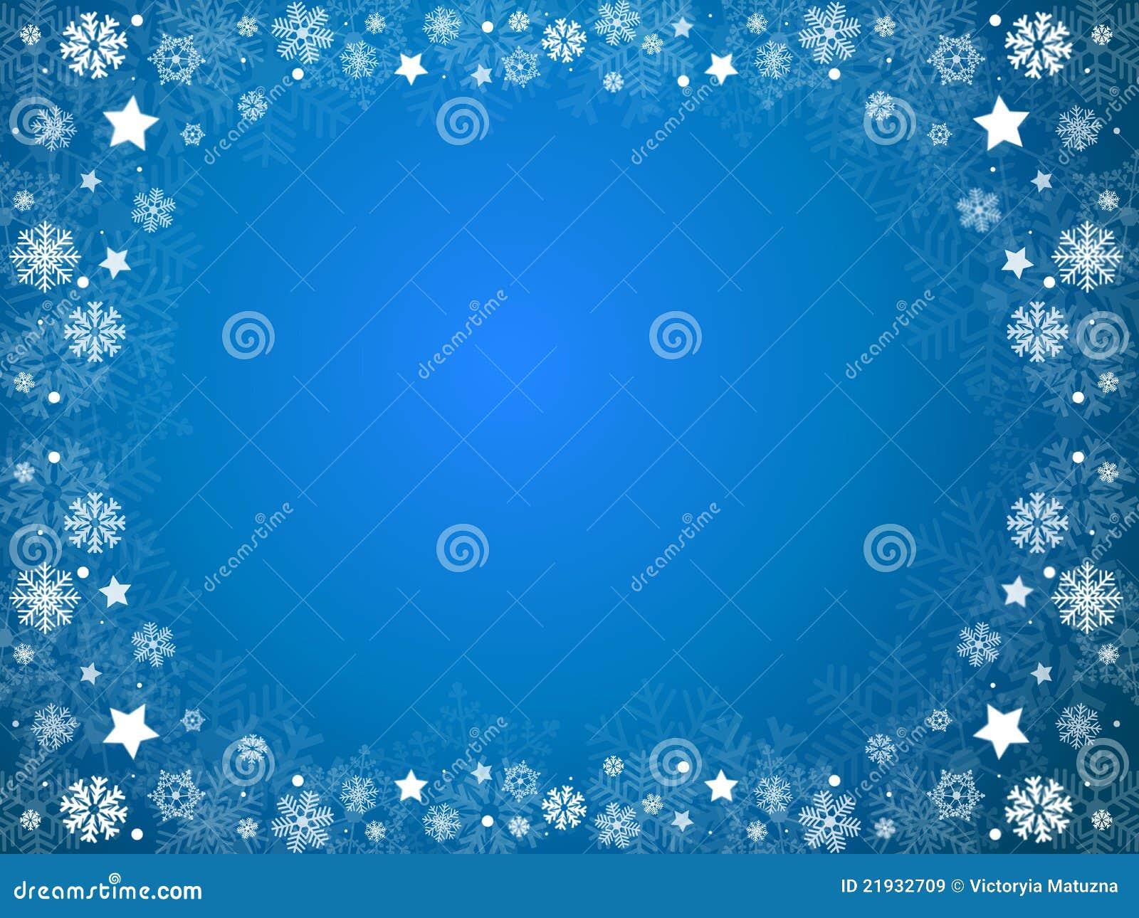 Het blauwe frame van Kerstmis van sneeuwvlokken en van sterren