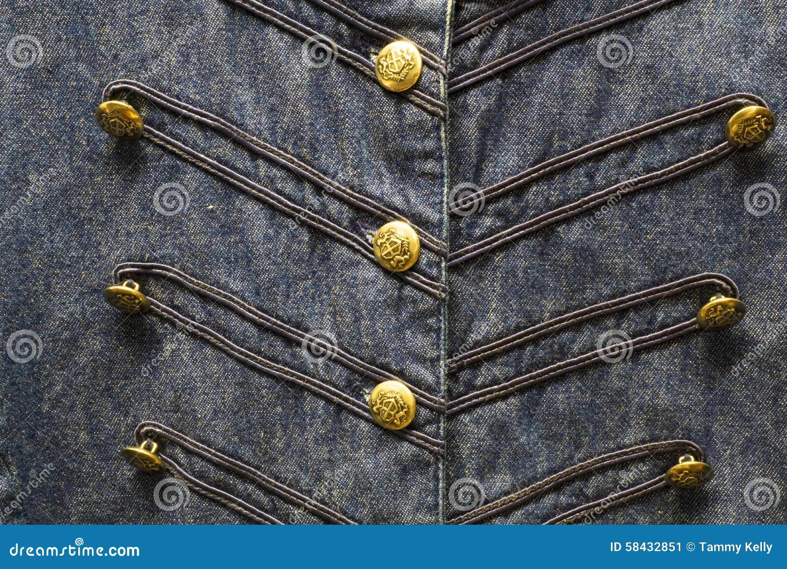 Knopen Overhemd Denimveedrijfster Blauwe Het Gouden Stock Met De Van K13FlTJc