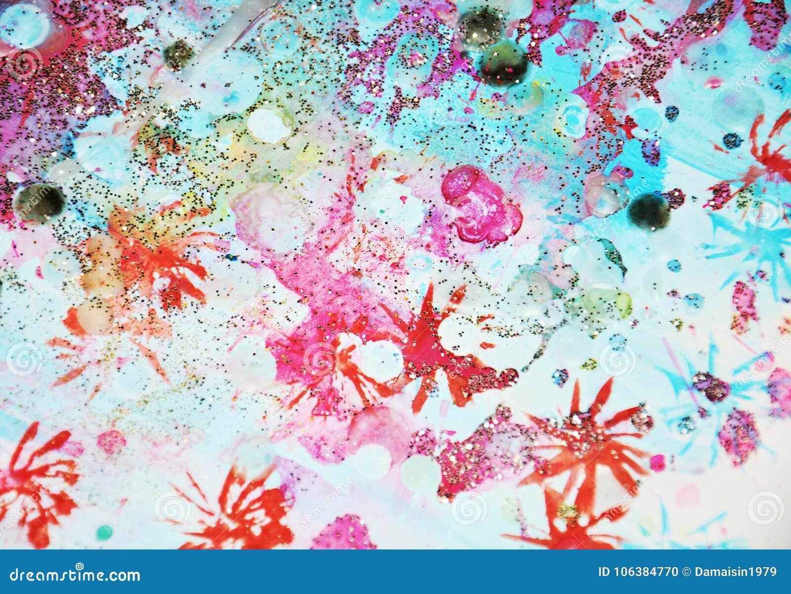 Het blauwe rood speelt kleurrijke het fonkelen liines, abstracte achtergrond en textuur mee