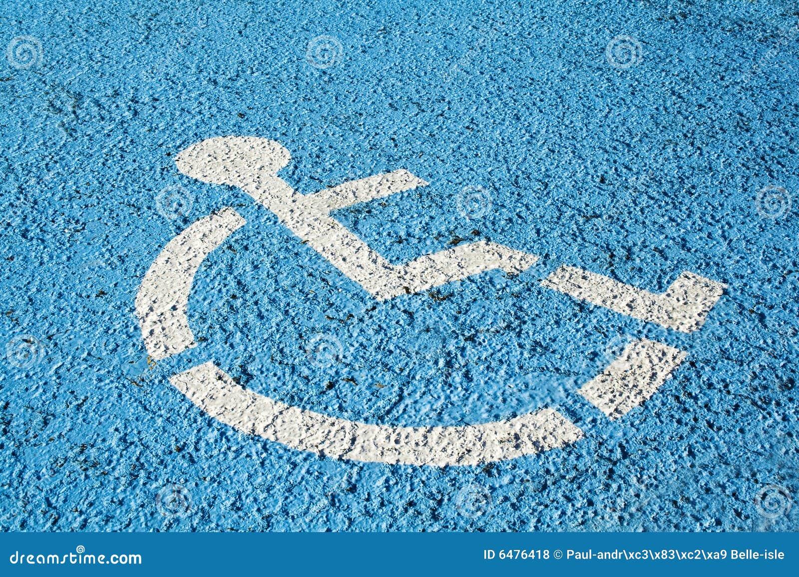Het blauwe teken van het handicapparkeren
