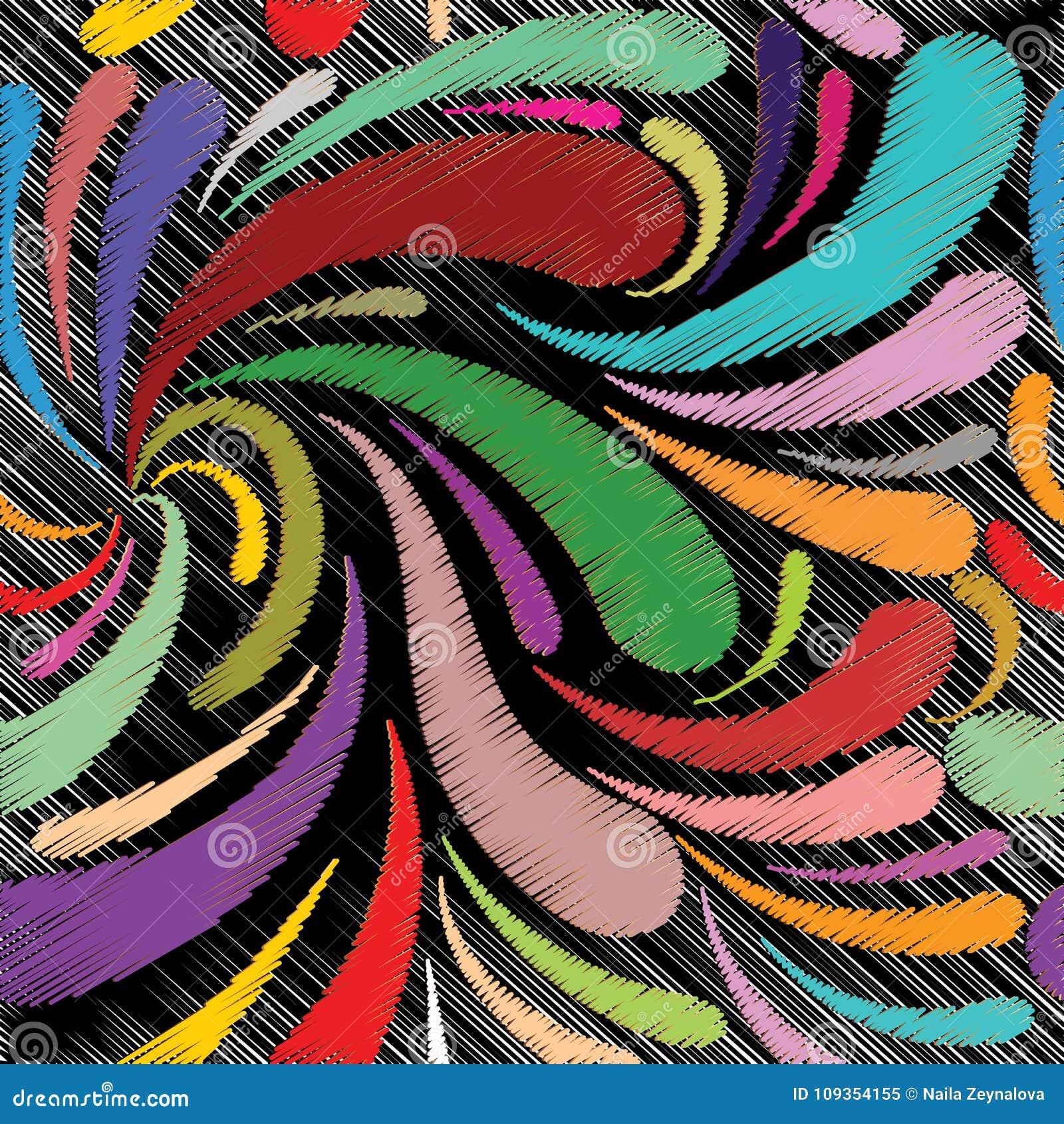 Het bloemen naadloze patroon van Paisley van de borduurwerkstijl Vectorcolorfu