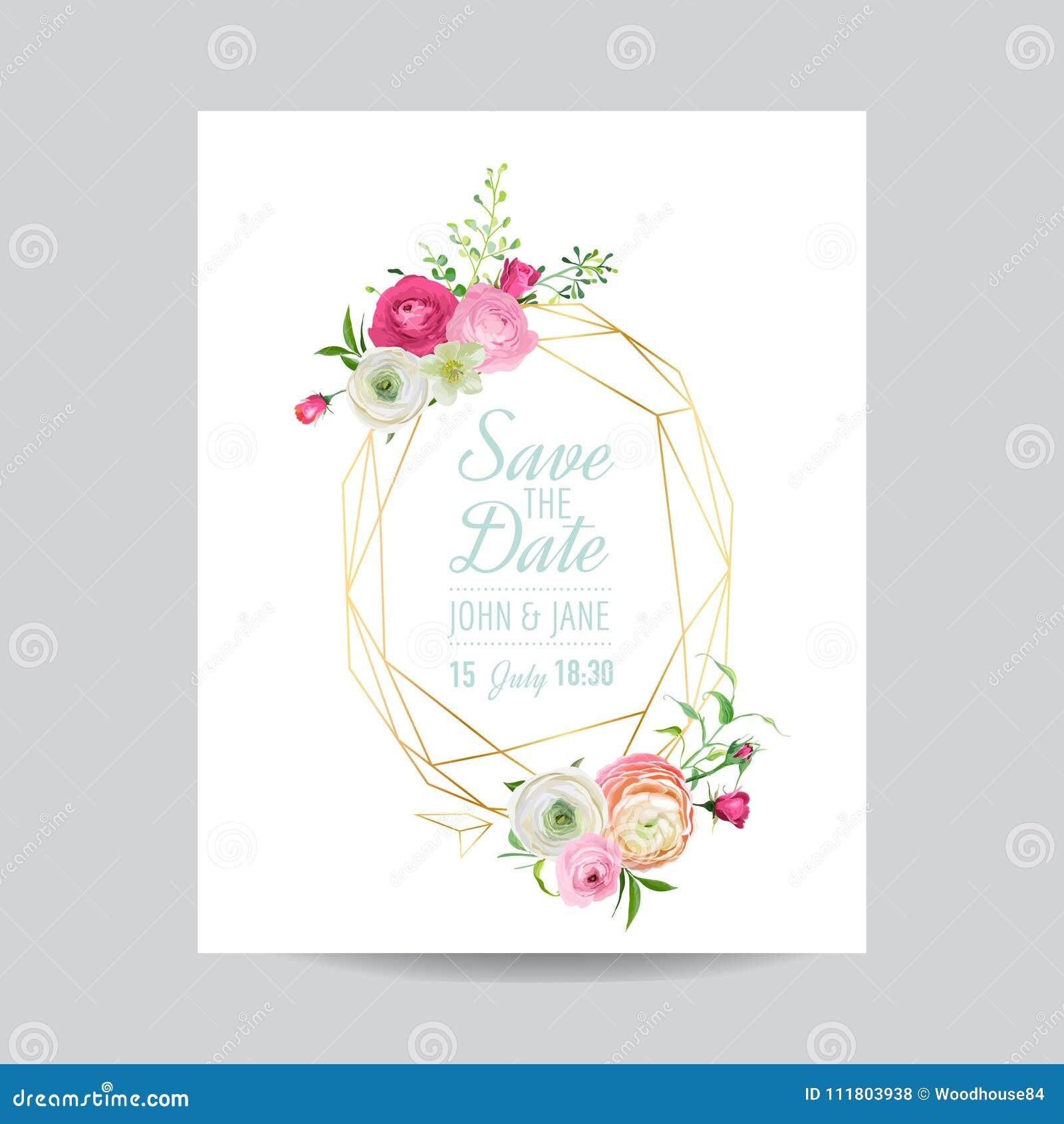 Het bloemenmalplaatje van de huwelijksuitnodiging Sparen het Datum Gouden Kader met Plaats voor uw Tekst en Roze Bloemen De kaart