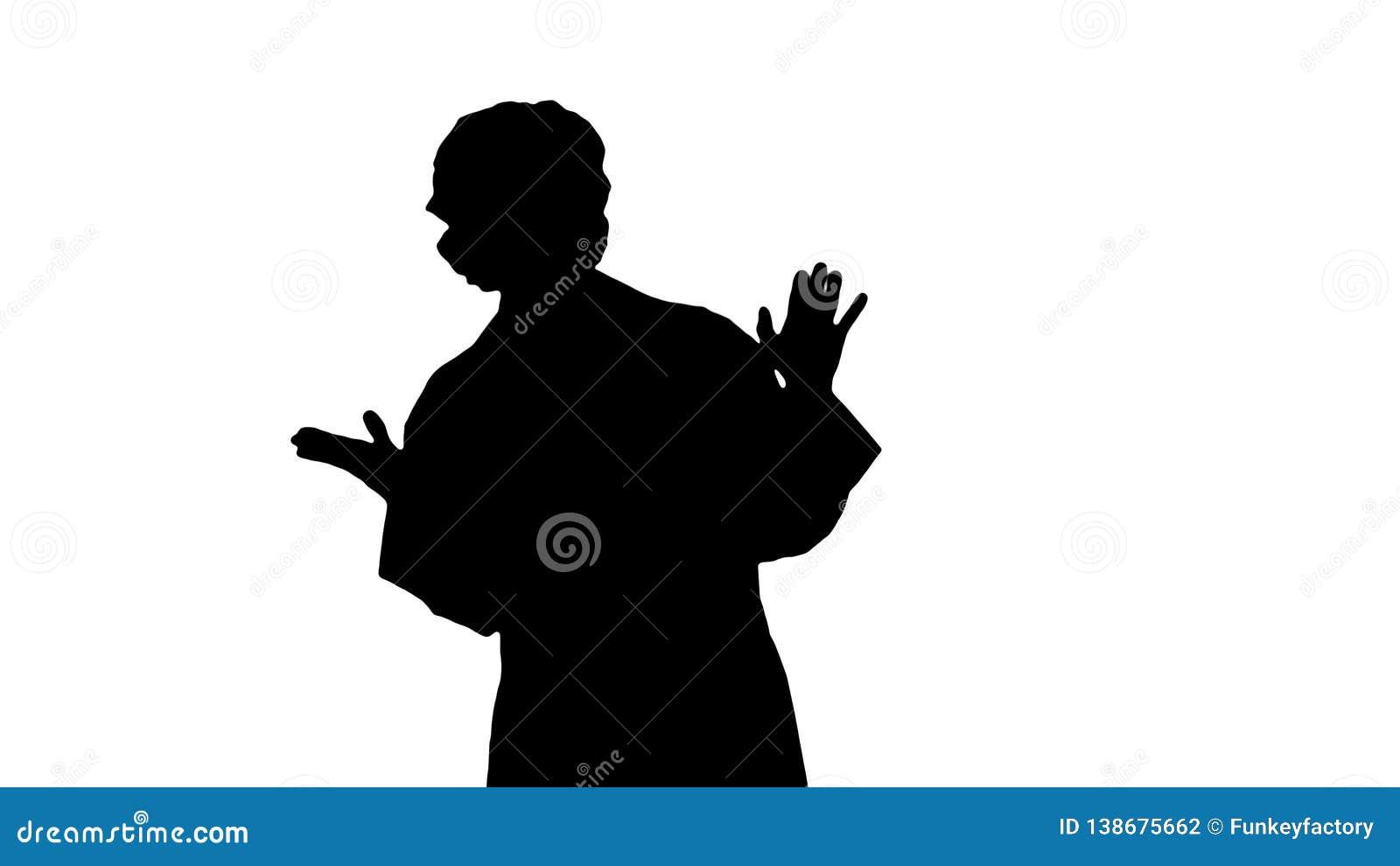 Het blonde van silhouetgeek jonge artsenvrouw die aan camera spreken