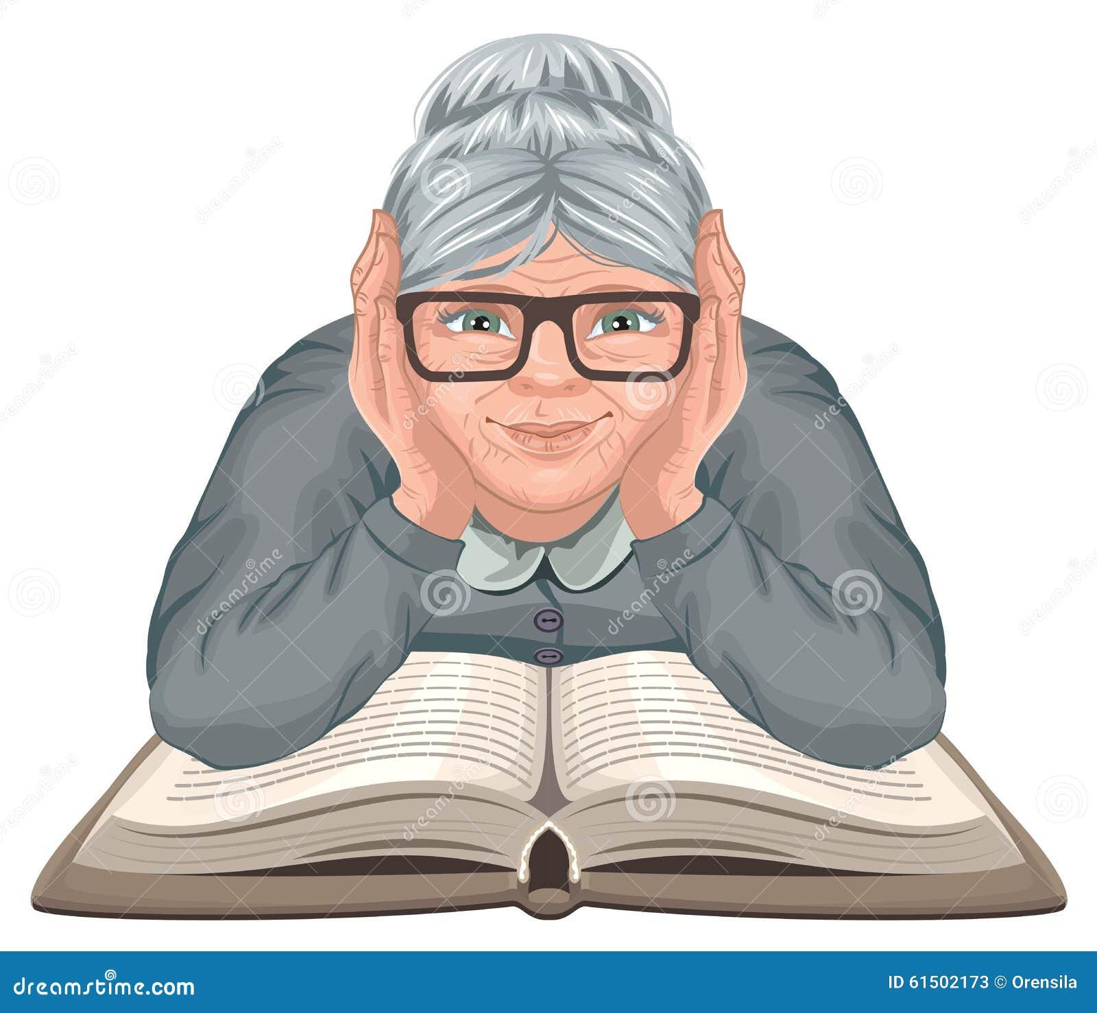 Het boek van de grootmoederlezing De oude vrouw in glazen plaatste zijn handen op een open boek