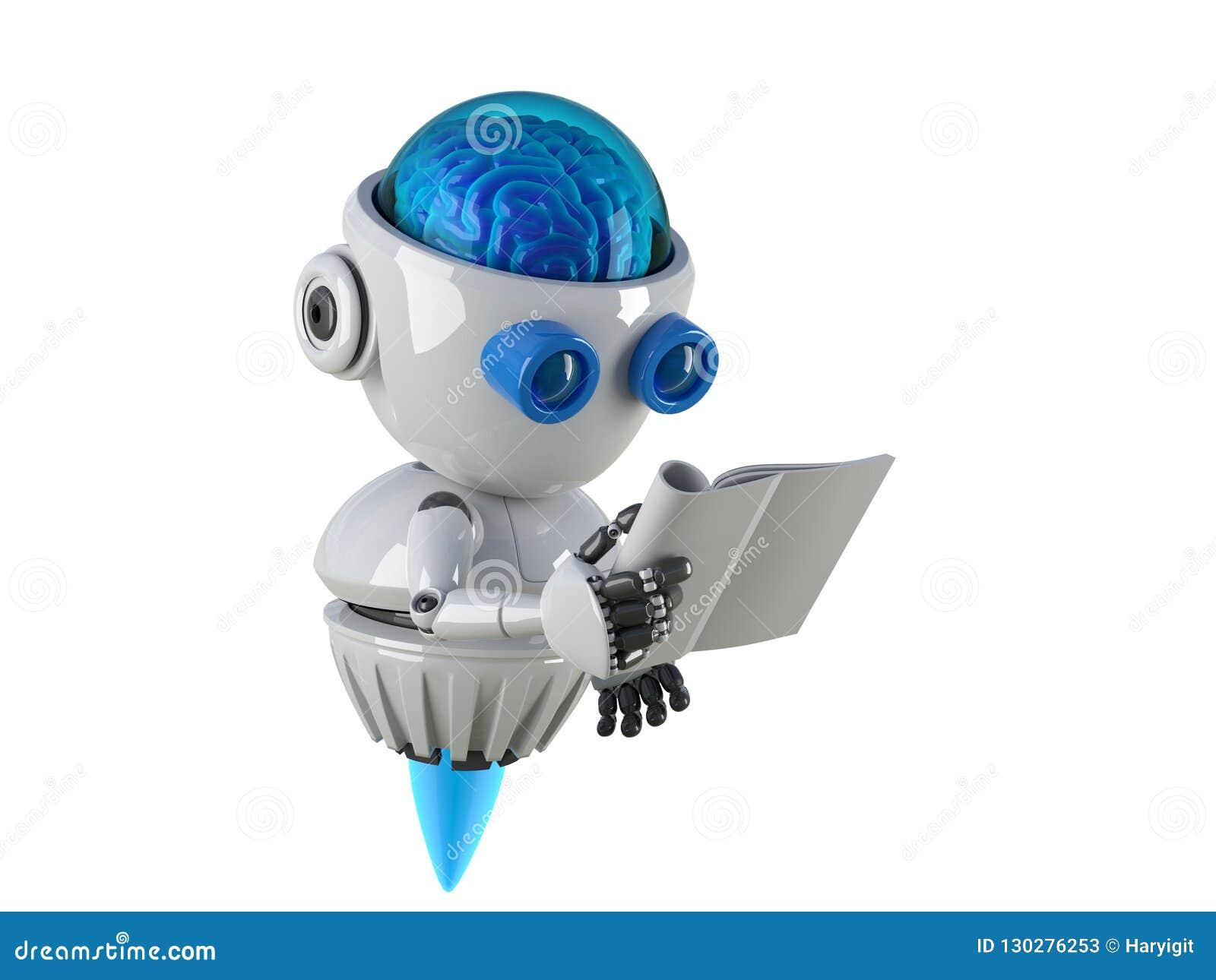 Het boek van de robotlezing met witte achtergrond
