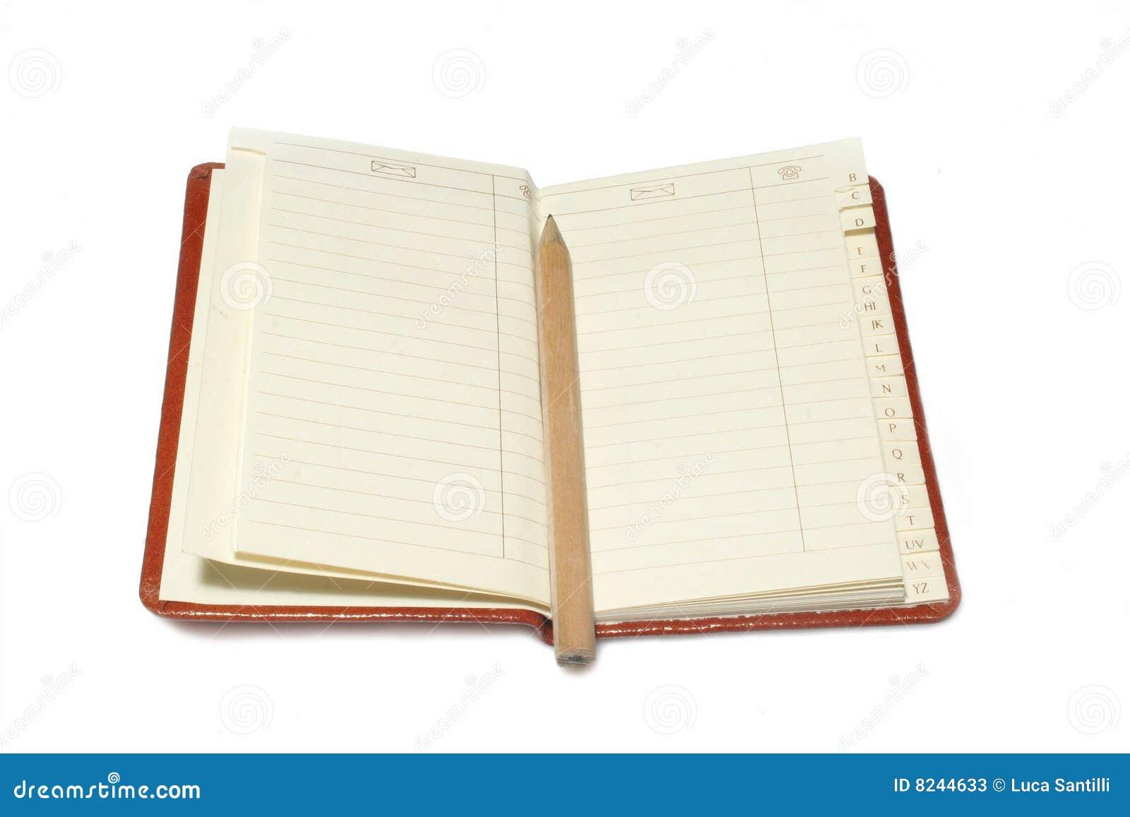 Het boek van de telefoon en van het adres.