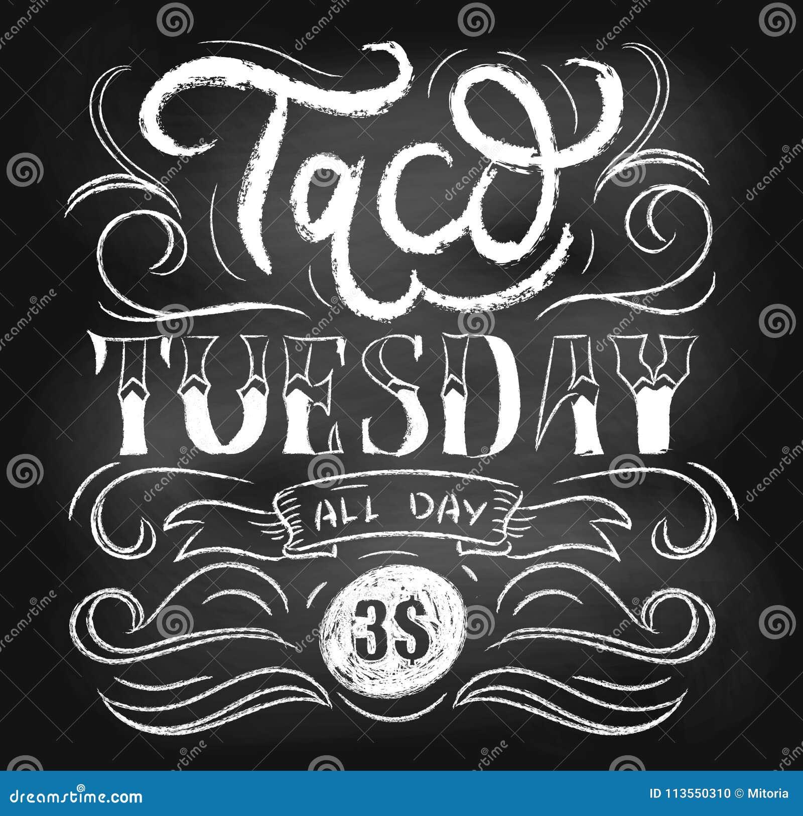 Het bord vectoraffiche van de tacodinsdag met het van letters voorzien en flouris