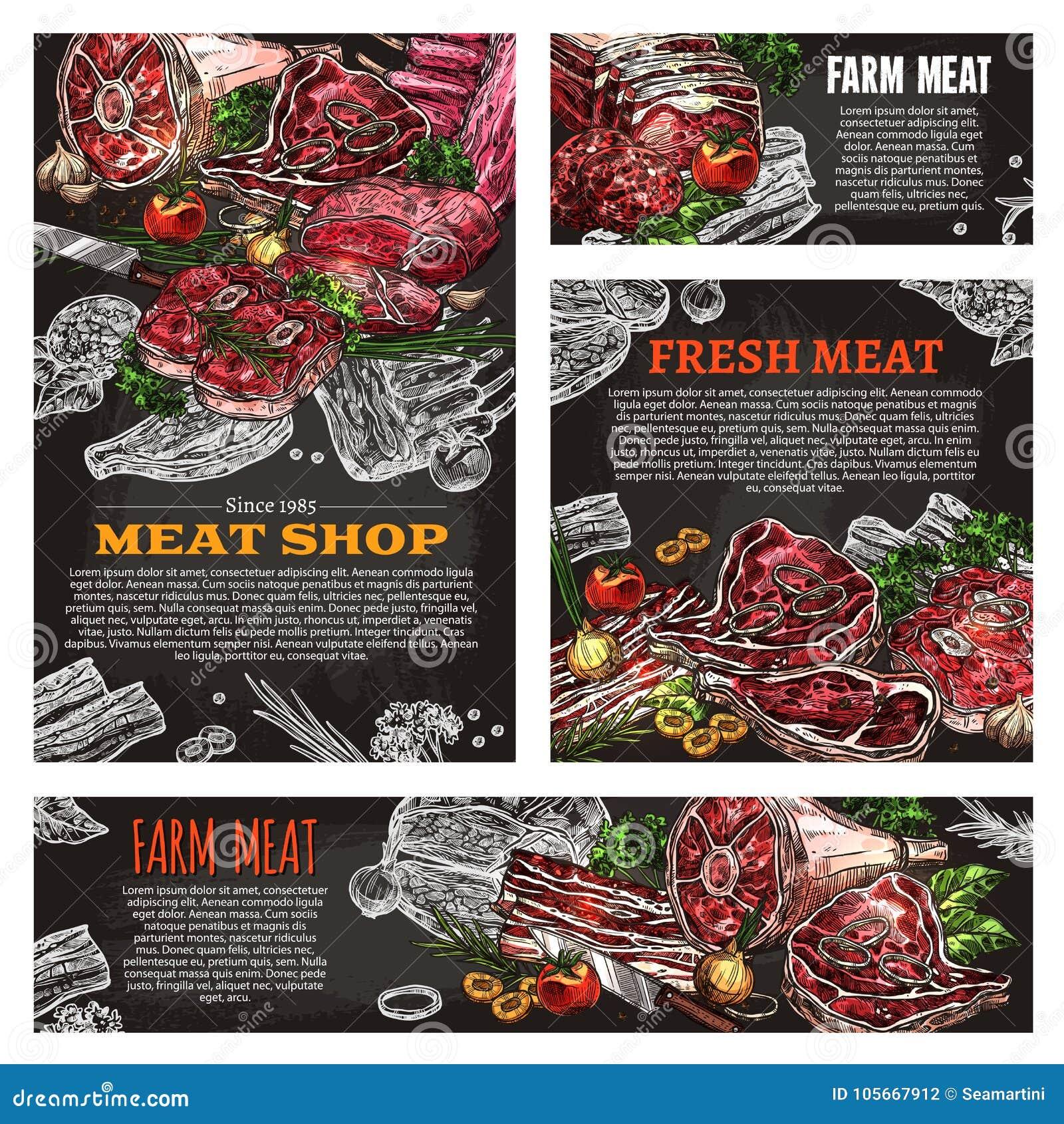 Het bordbanner van het vleesproduct voor slagerij