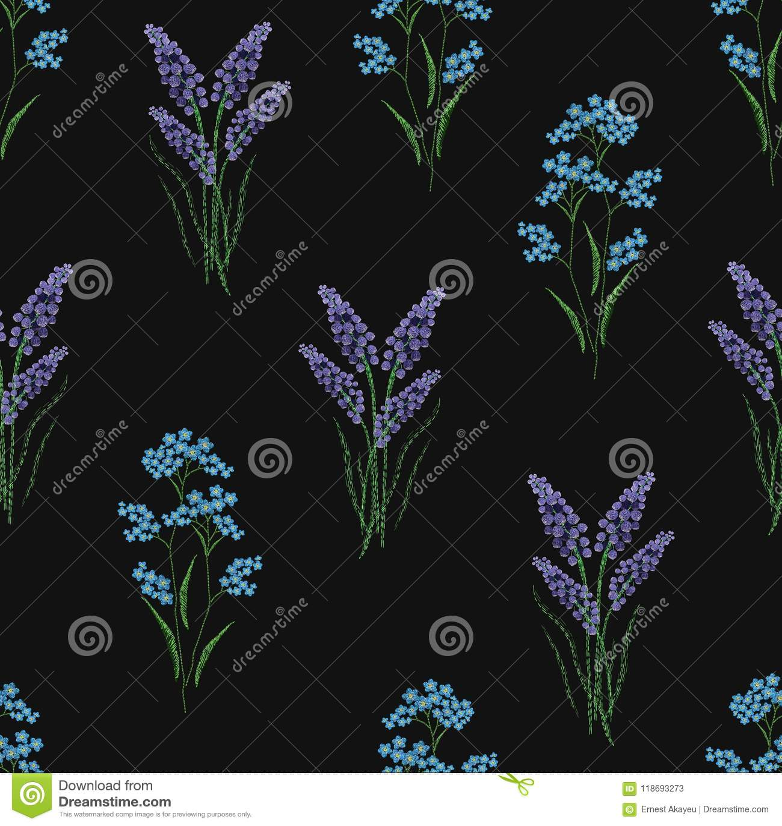 Het botanische naadloze patroon met geborduurd bloeiend lavendel en vergeet-mij-nietje bloeit op zwarte achtergrond achtergrond