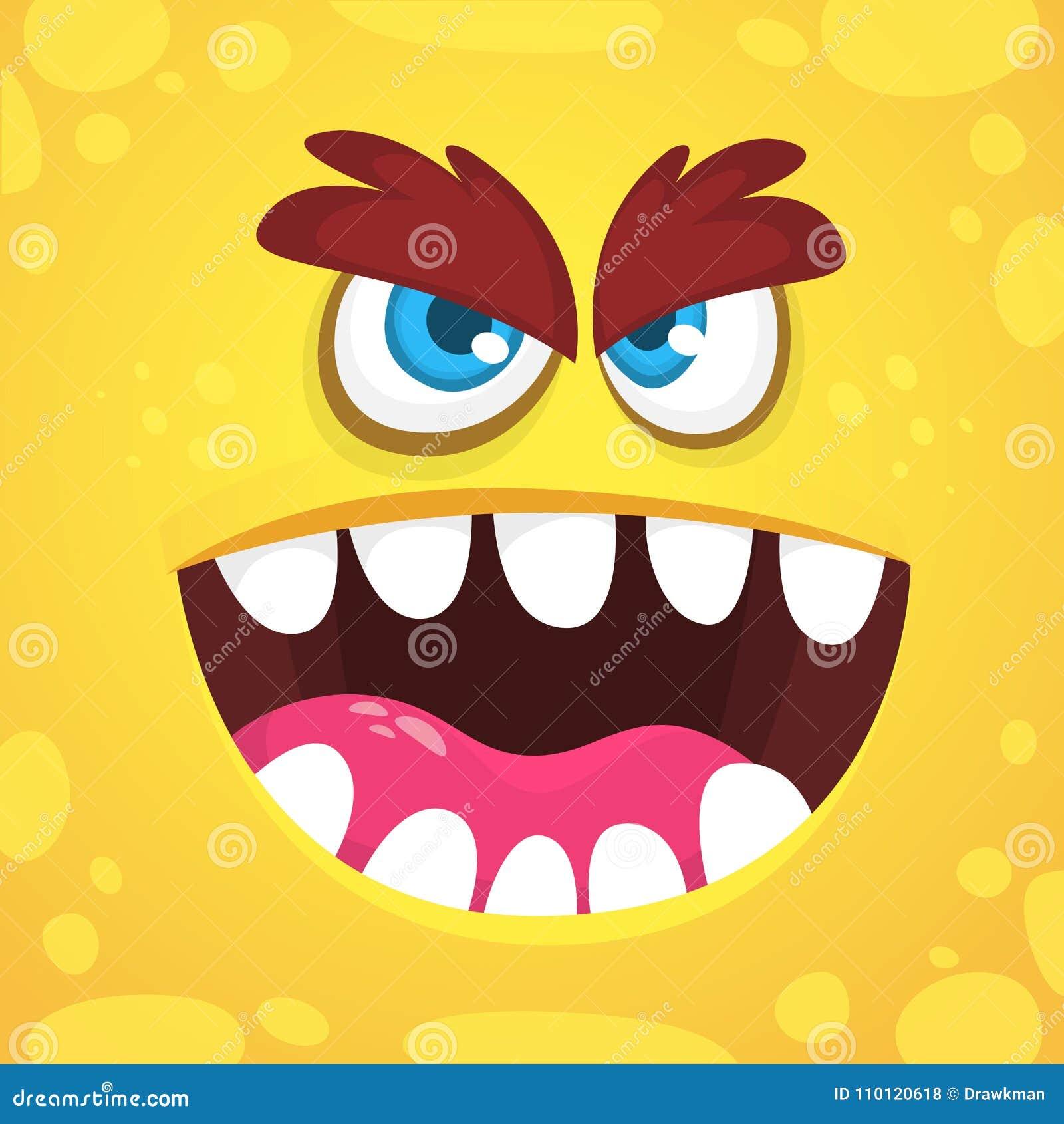 Het boze gezicht van het beeldverhaalmonster Vector oranje het monsteravatar van Halloween Ontwerp voor druk, kinderenboek, parti