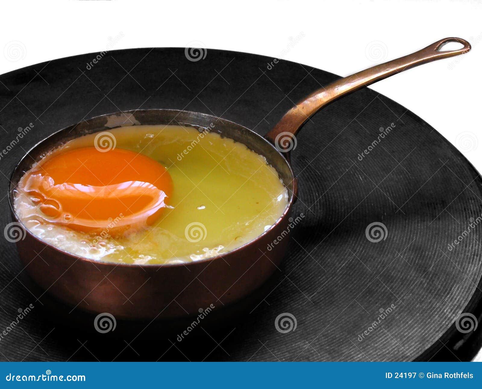Het braden van een ei (in een miniatuurpan)
