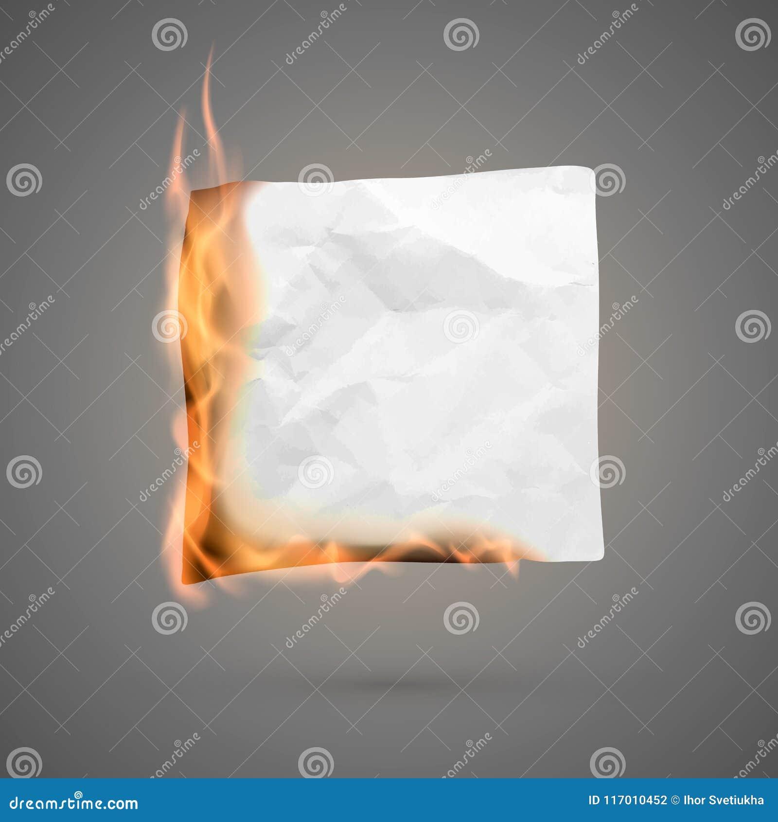 Het branden stuk van verfrommeld document verfrommelde lege document spatie voor banner Gevouwen document textuur in brand Vector