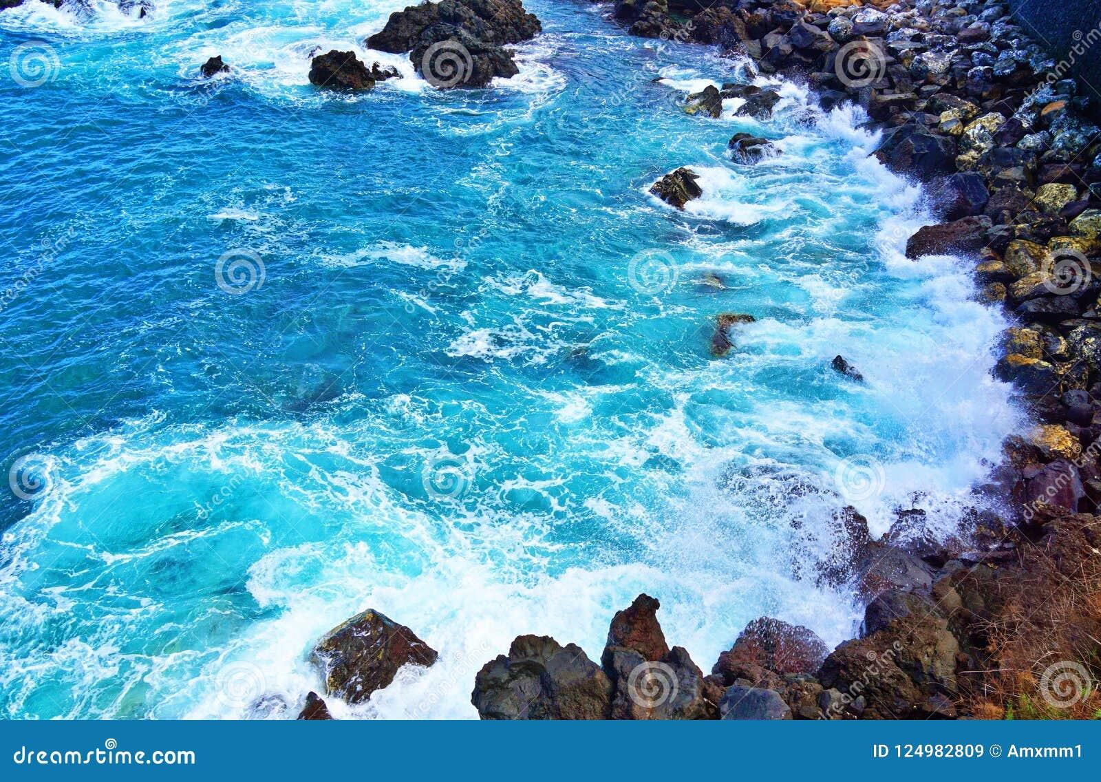 Het breken van golven op rotsachtige kust, Tenerife