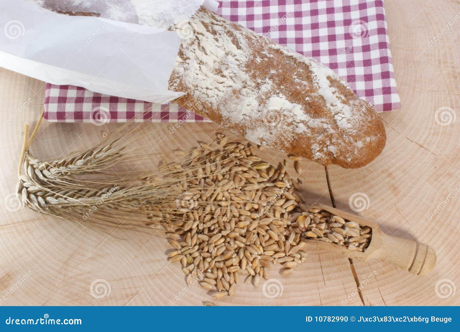 Het brood en het graangewas van het plattelandshuisje