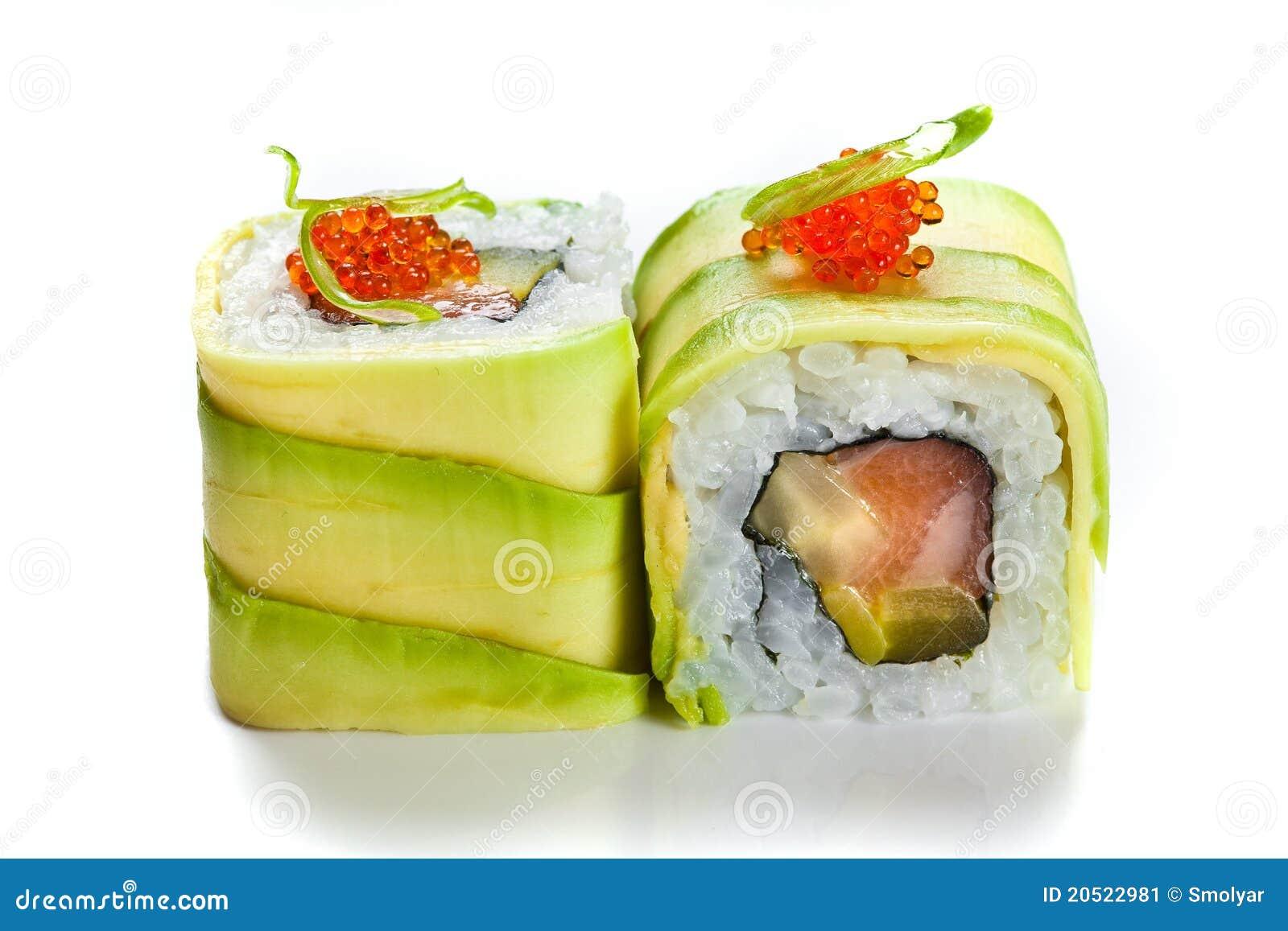 Het broodje van sushi met avocado