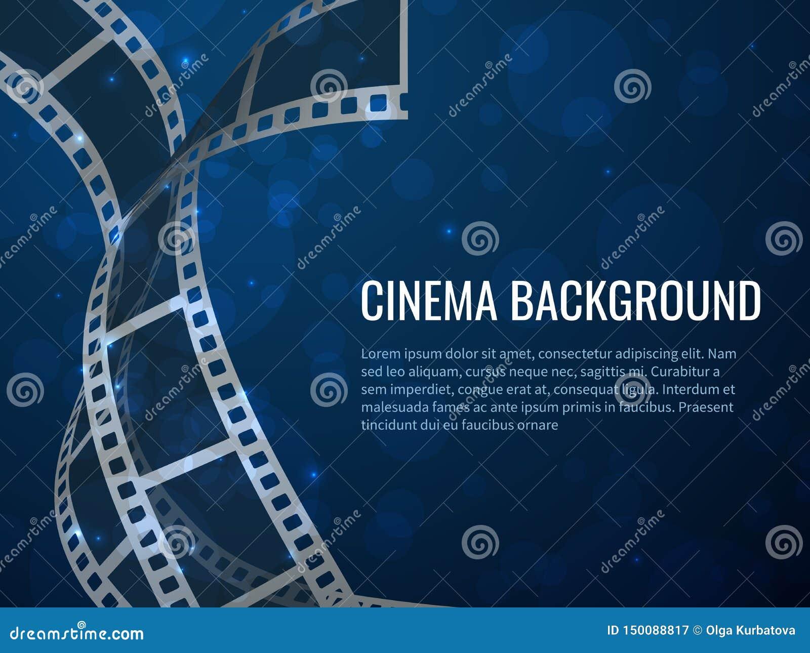 Het broodjesaffiche van de filmstrook Filmproductie met realistische lege negatieve filmkaders en teksten Vectorbioskoopachtergro