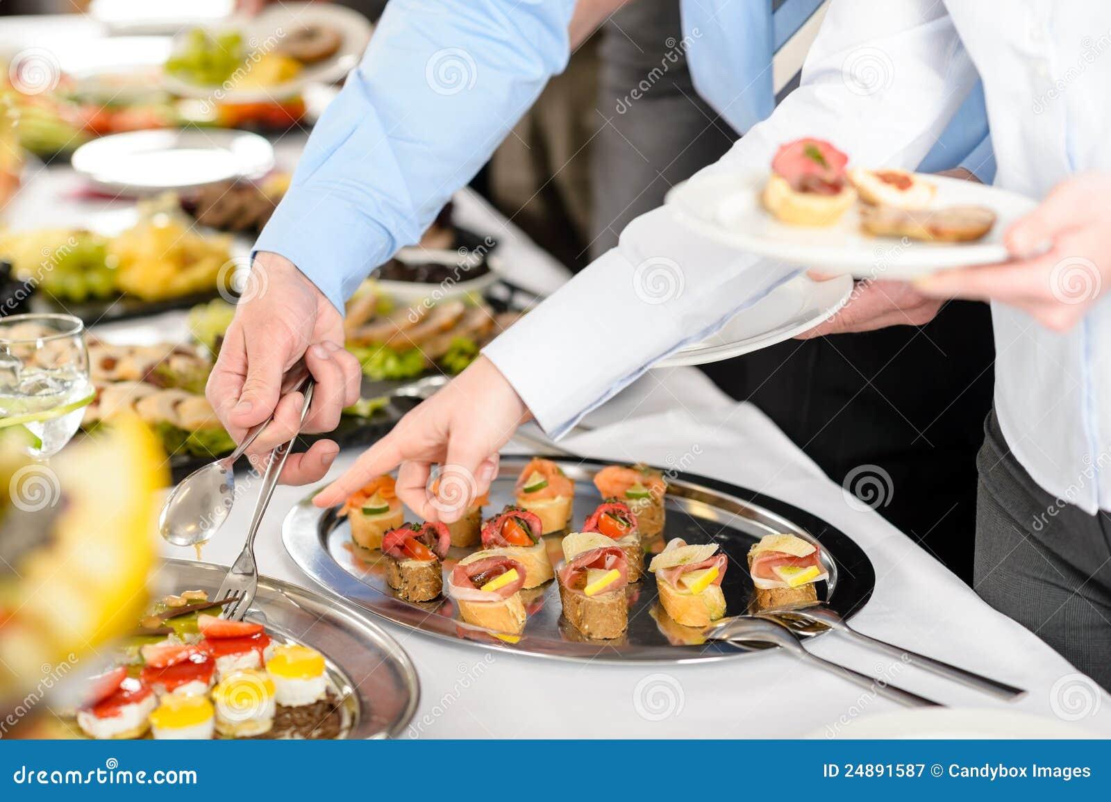 Het buffet van snacks op bedrijfvergadering