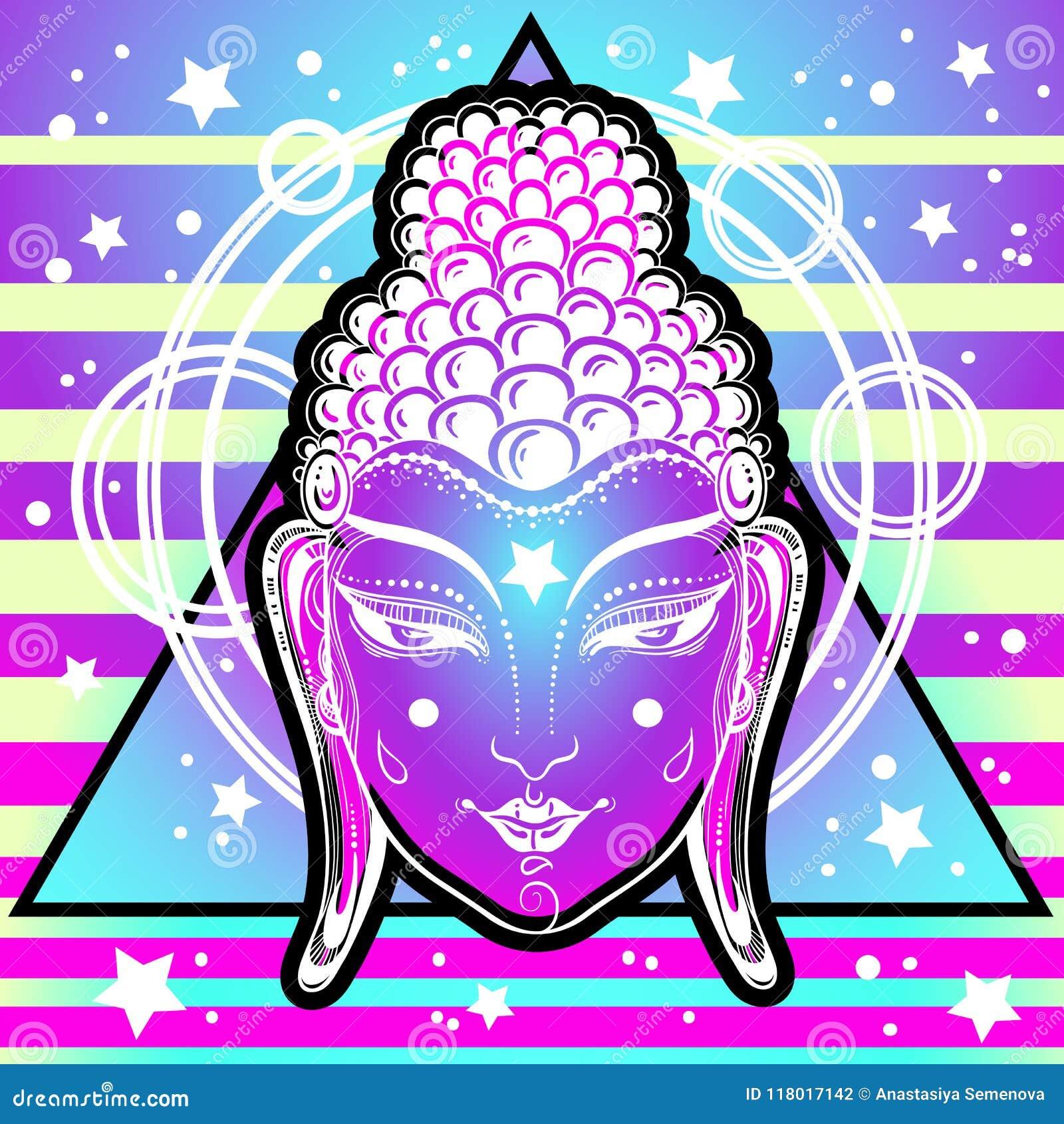 Het buitengewone gezicht van Boedha in neonkleuren over heilige meetkunde en kosmische trillende achtergrond Verlichting, transfo