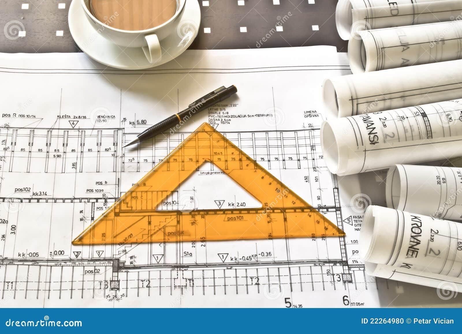 Het bureau van de architect met broodjes en plannen stock foto afbeelding 22264980 - Bureau van de uitbreiding ...