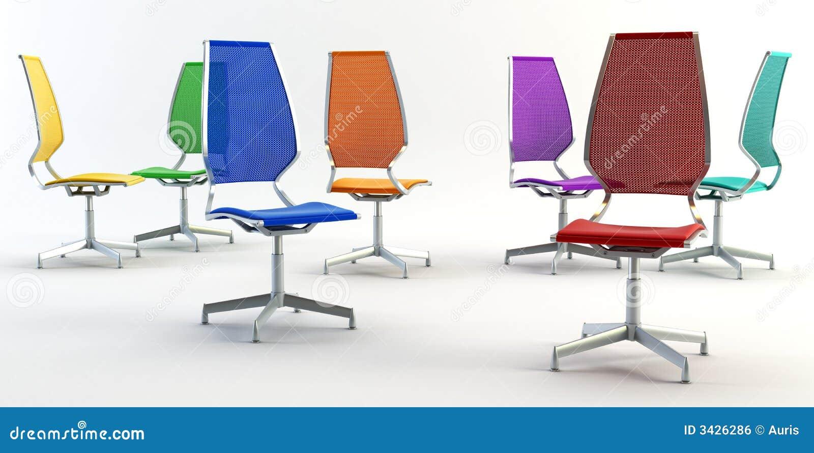Het bureau van de kleur zit 3d voor
