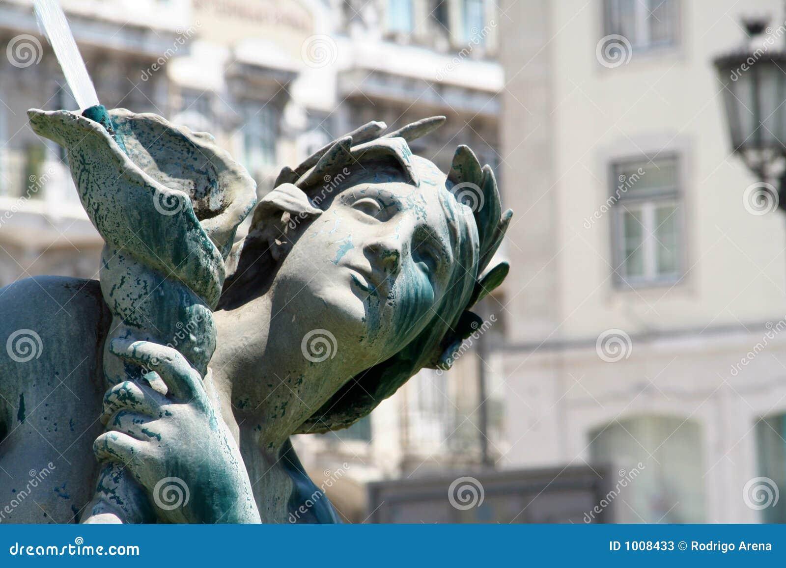 Het centrale Detail van het Standbeeld van het Brons van Lissabon
