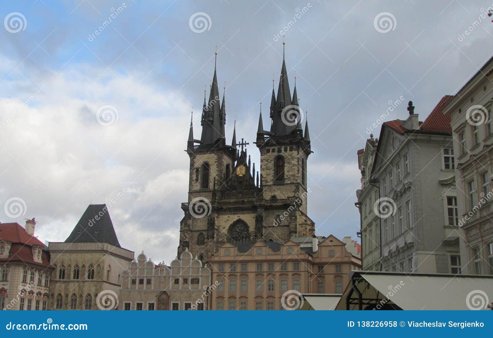 Het centrale vierkant van Praag - Oude Stad, Tsjechische Republiek