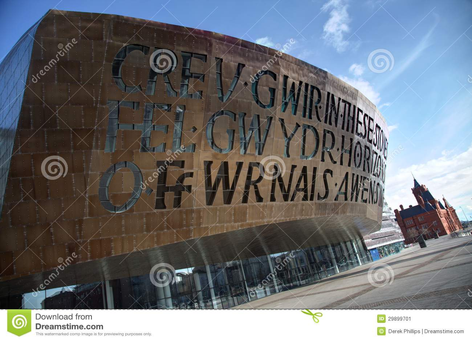 De Baai van Cardiff met het Centrum van het Millennium