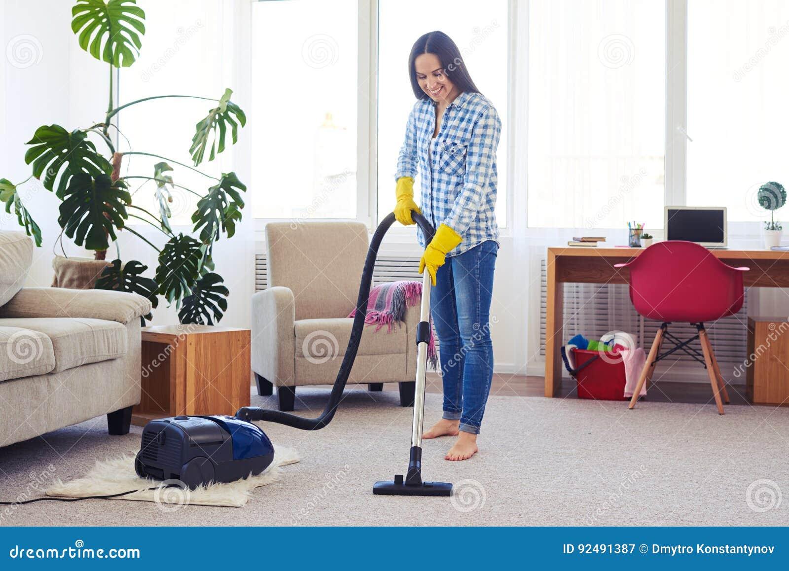 Het charmante huisvrouw schoonmaken met stofzuigertapijt