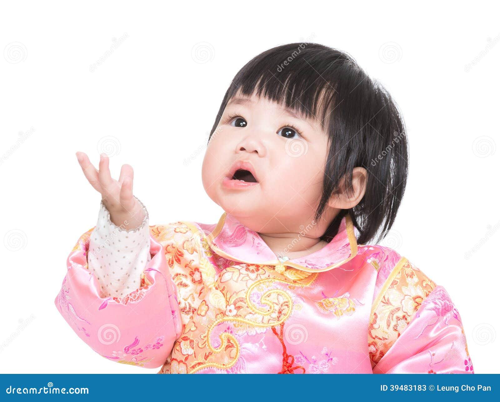 Het Chinese babymeisje geeft vaarwel kus