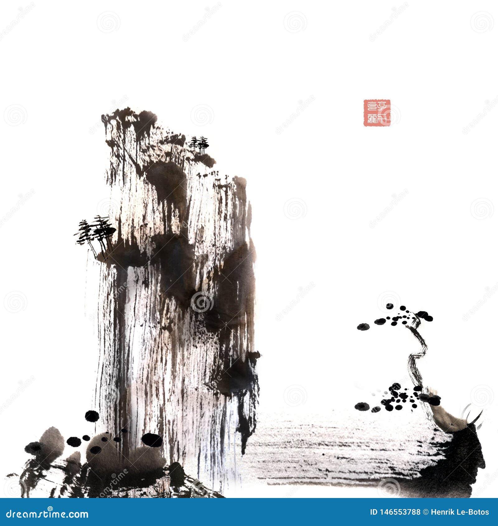 Het Chinese kwaststreek schilderen uit de vrije hand