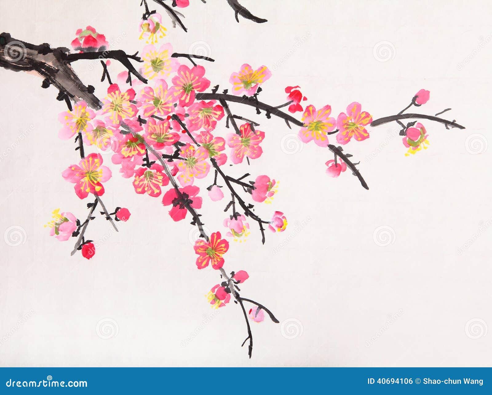 Het chinese schilderen van bloemen pruimbloesem stock - Rosas chinas ...
