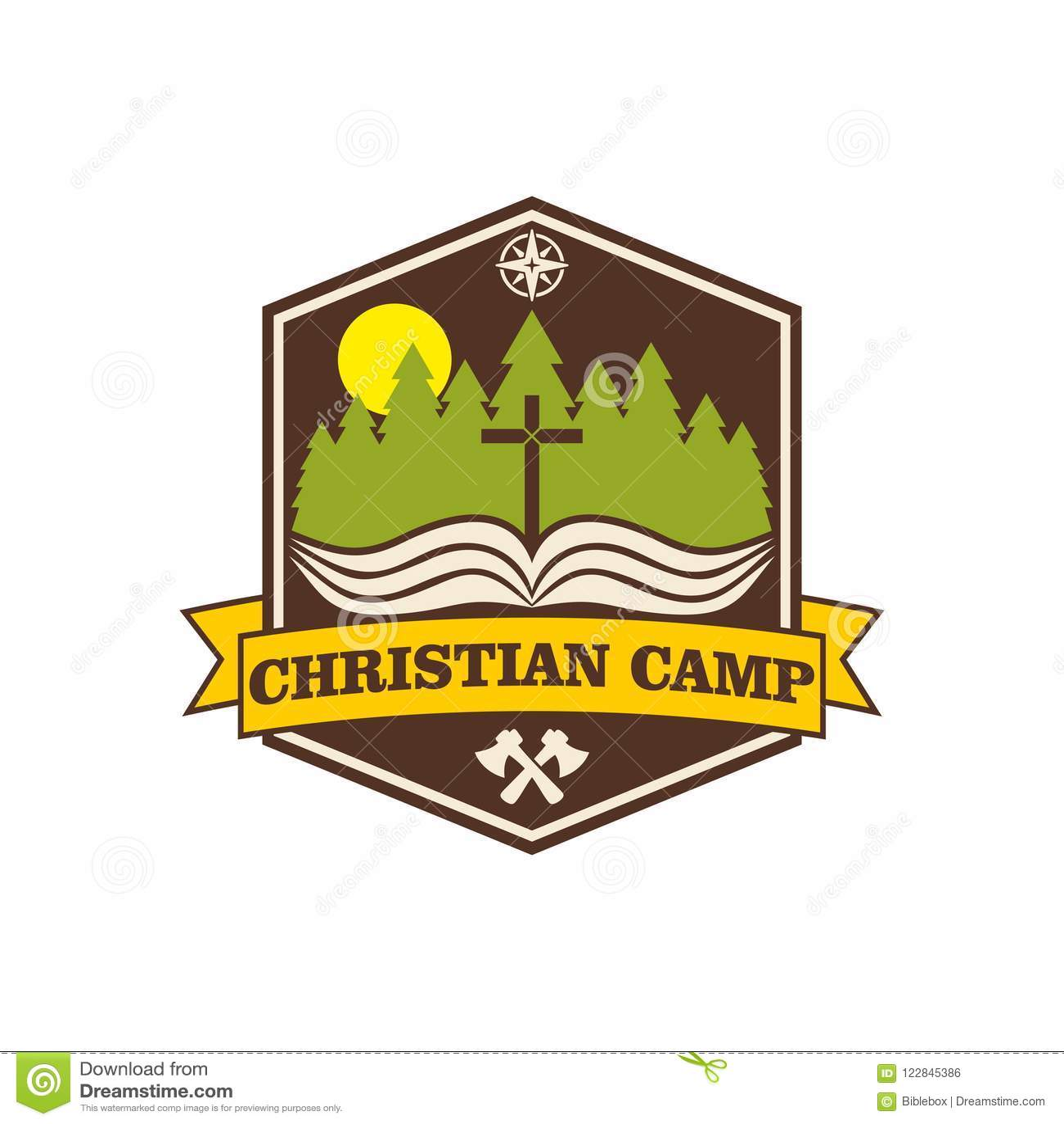 Het Christelijke kamp van de embleemzomer