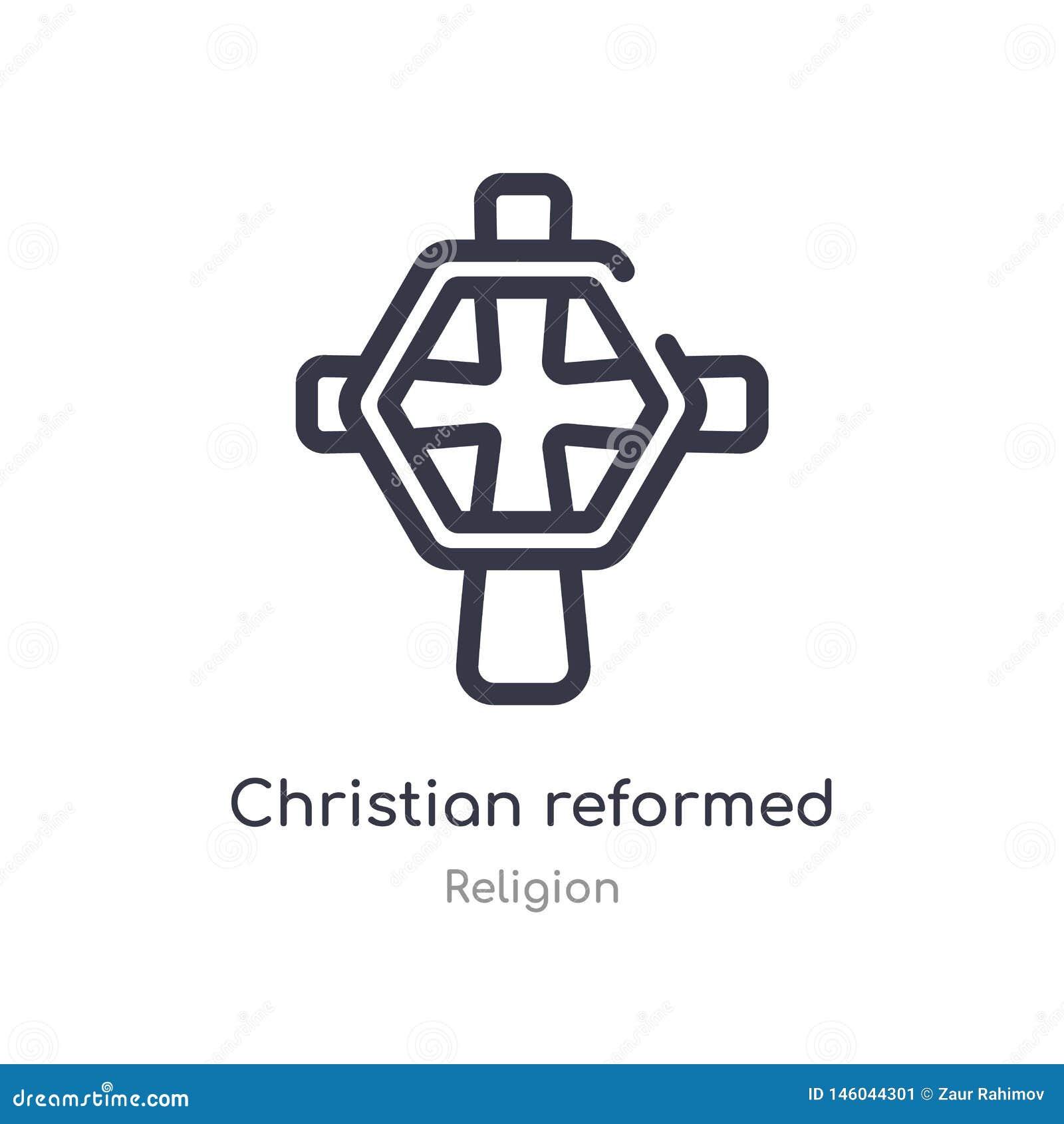 Het christen opnieuw gevormde pictogram van het kerkoverzicht ge?soleerde lijn vectorillustratie van godsdienstinzameling editabl