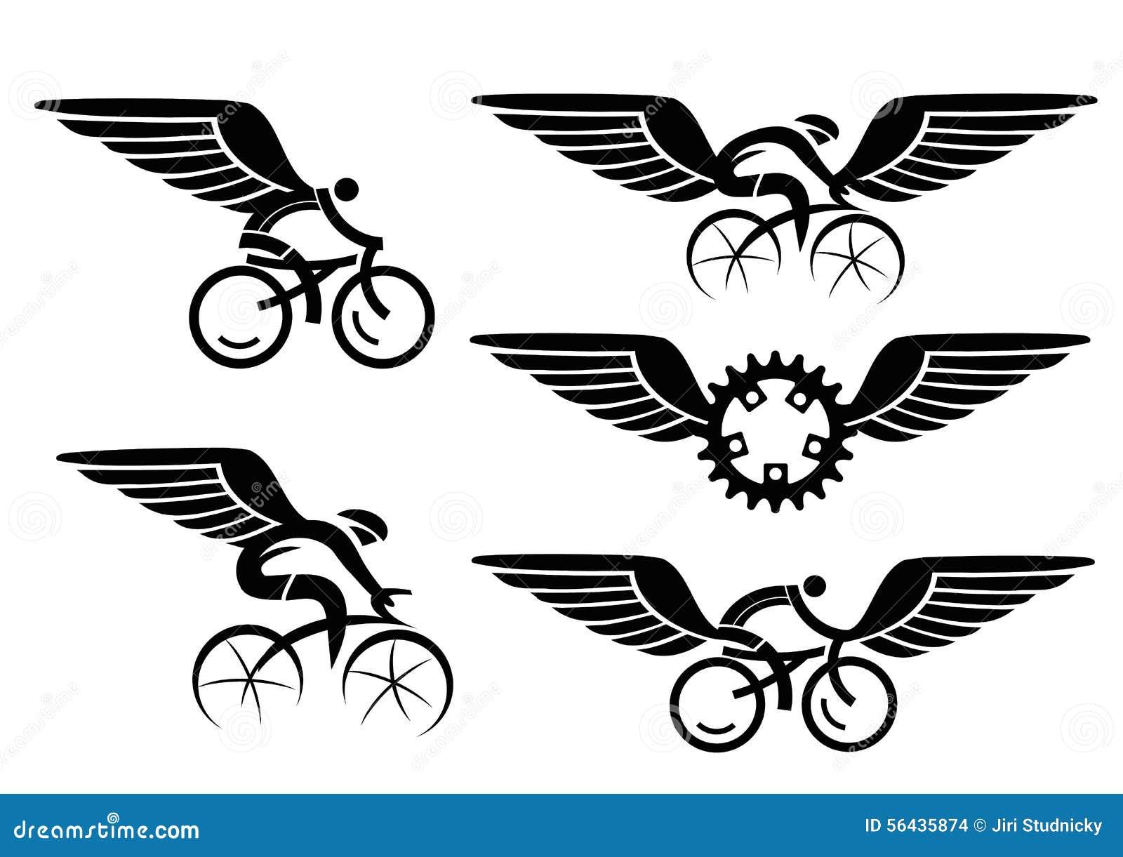 Het cirkelen van pictogrammen met vleugels