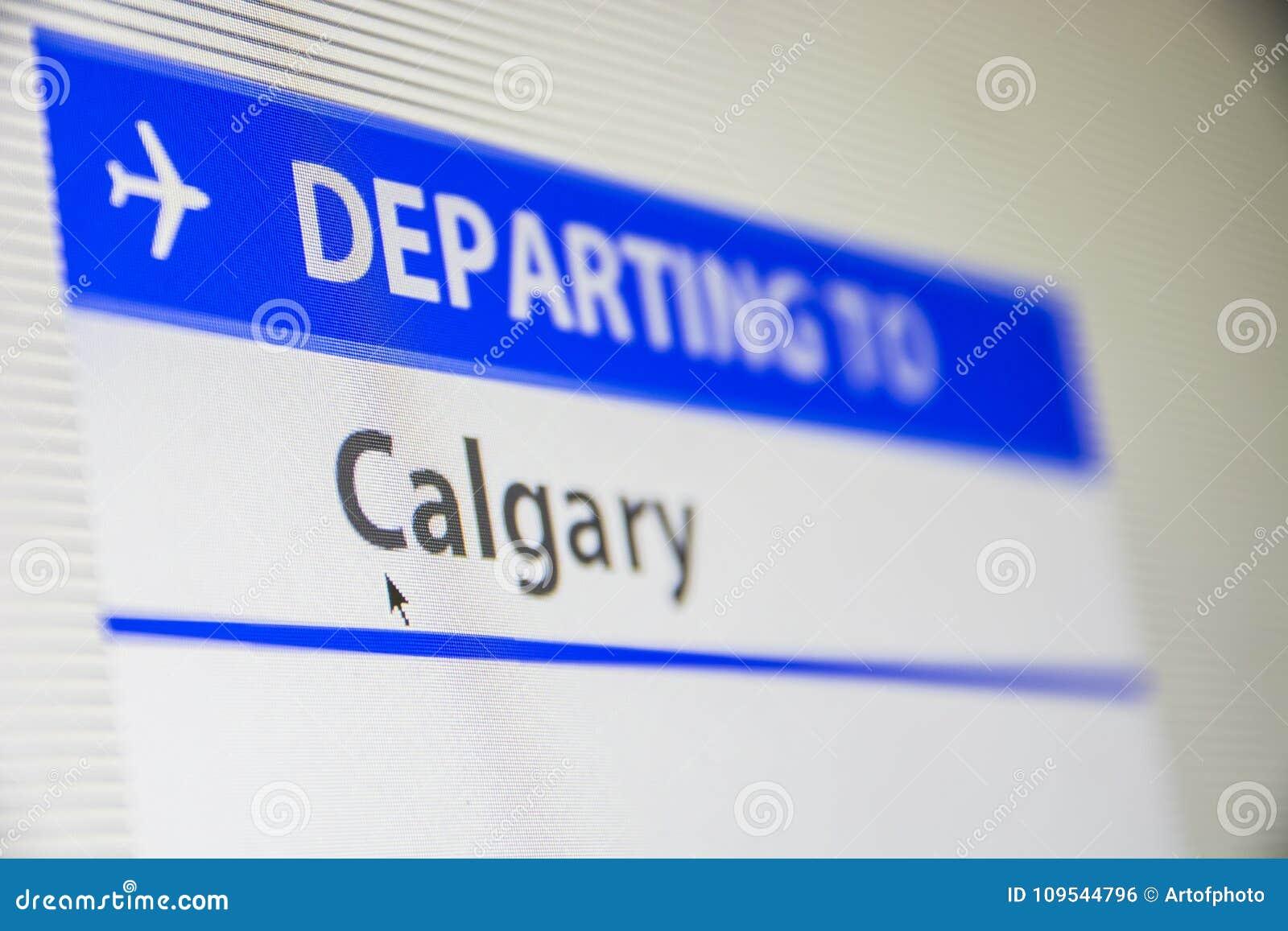 Het close-up van het computerscherm van vlucht aan Calgary, Canada