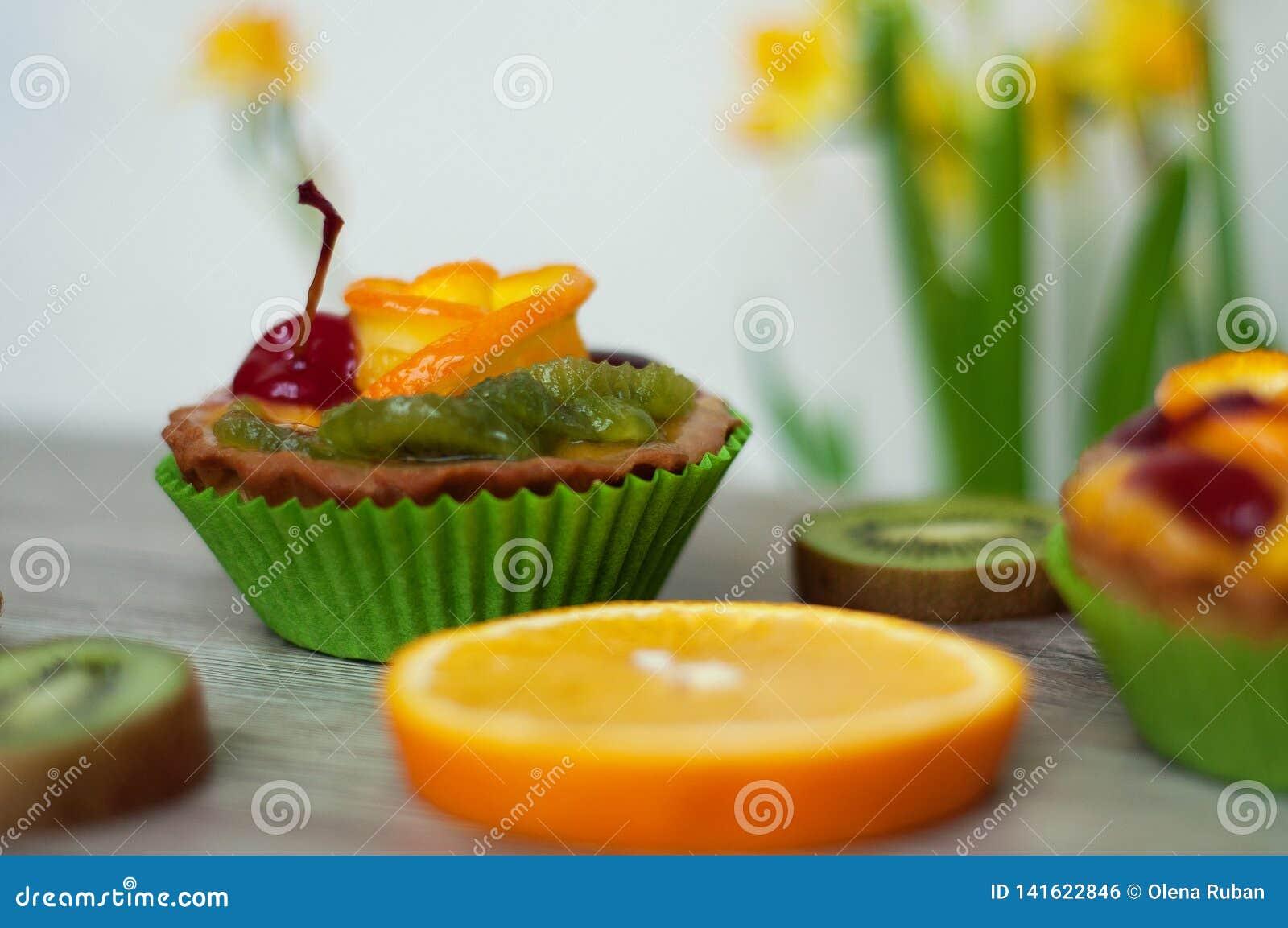 Het close-up van de fruitcake