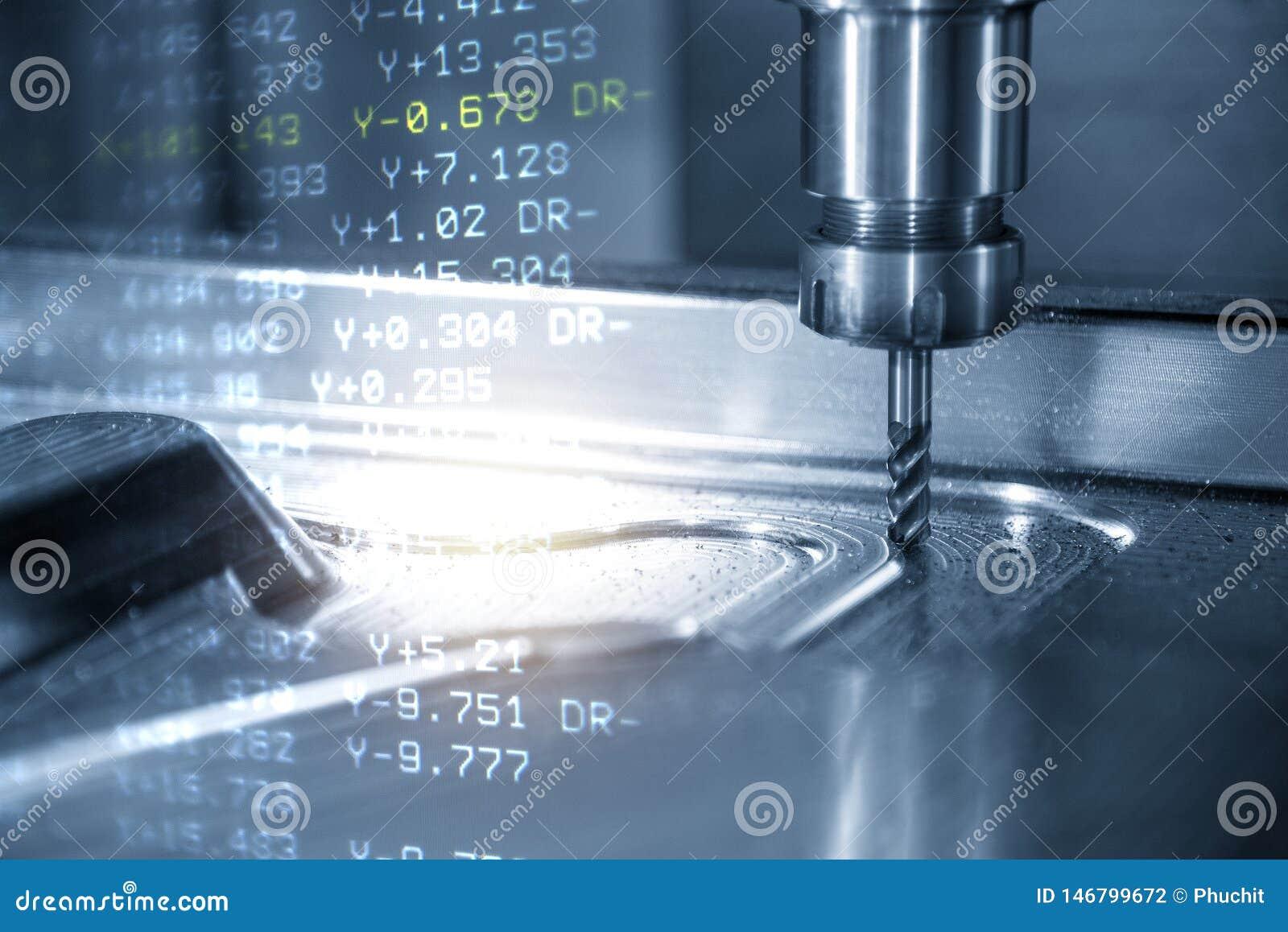 Het CNC machinaal bewerkende centrum met de g-Code gegevensachtergrond