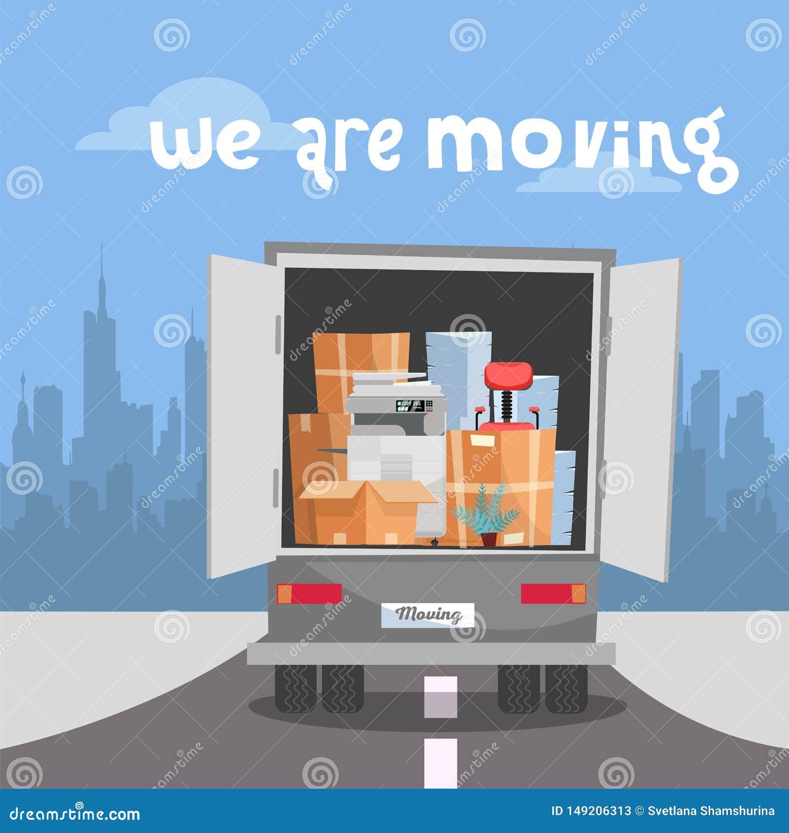 Het collectieve Bewegen zich in nieuw bureau Bedrijfsverhuizing in nieuwe plaats Dingen in Doos in Vrachtwagenreeks vrachtwagen m