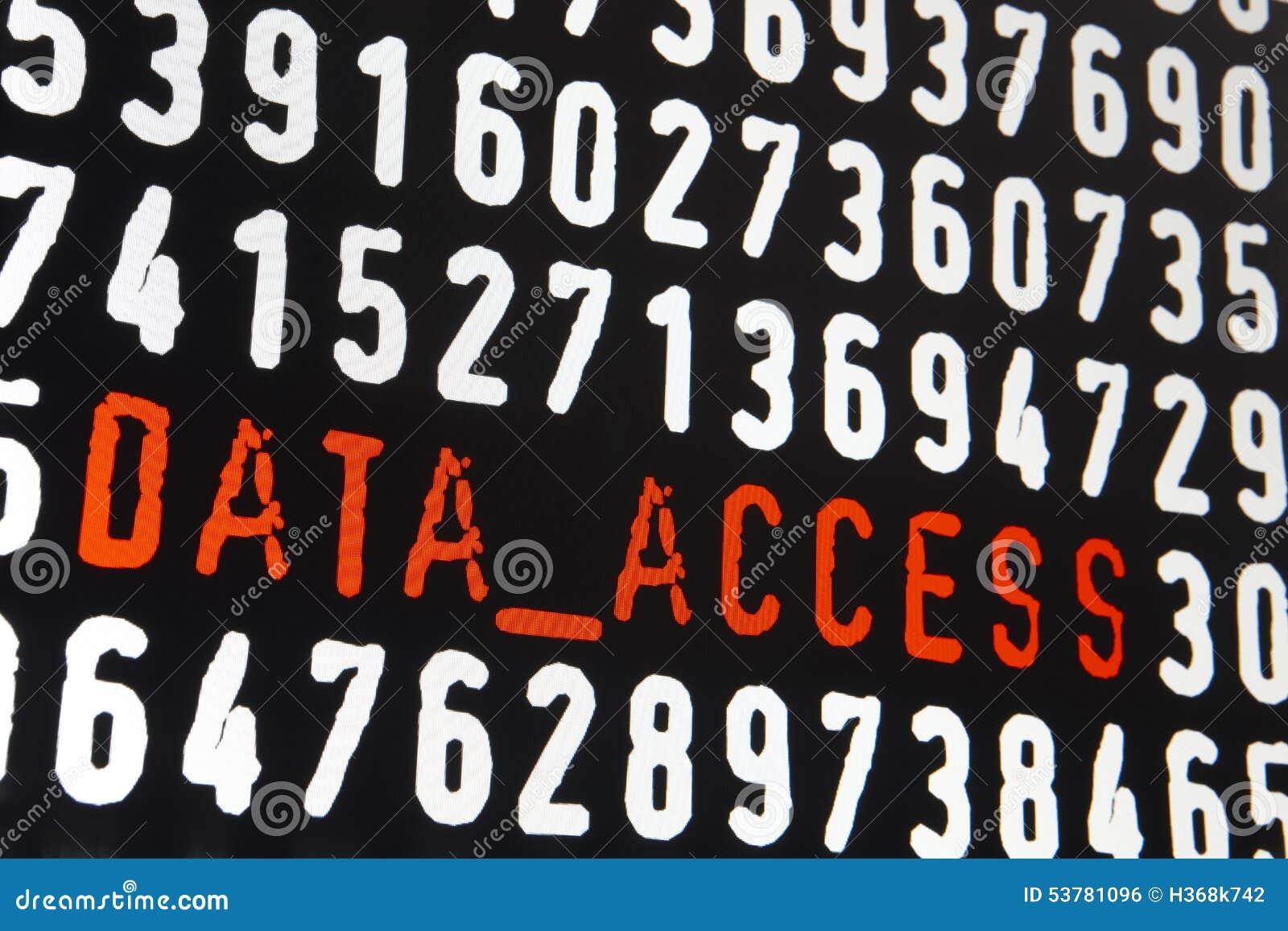 Het computerscherm met de tekst van de gegevenstoegang op zwarte achtergrond