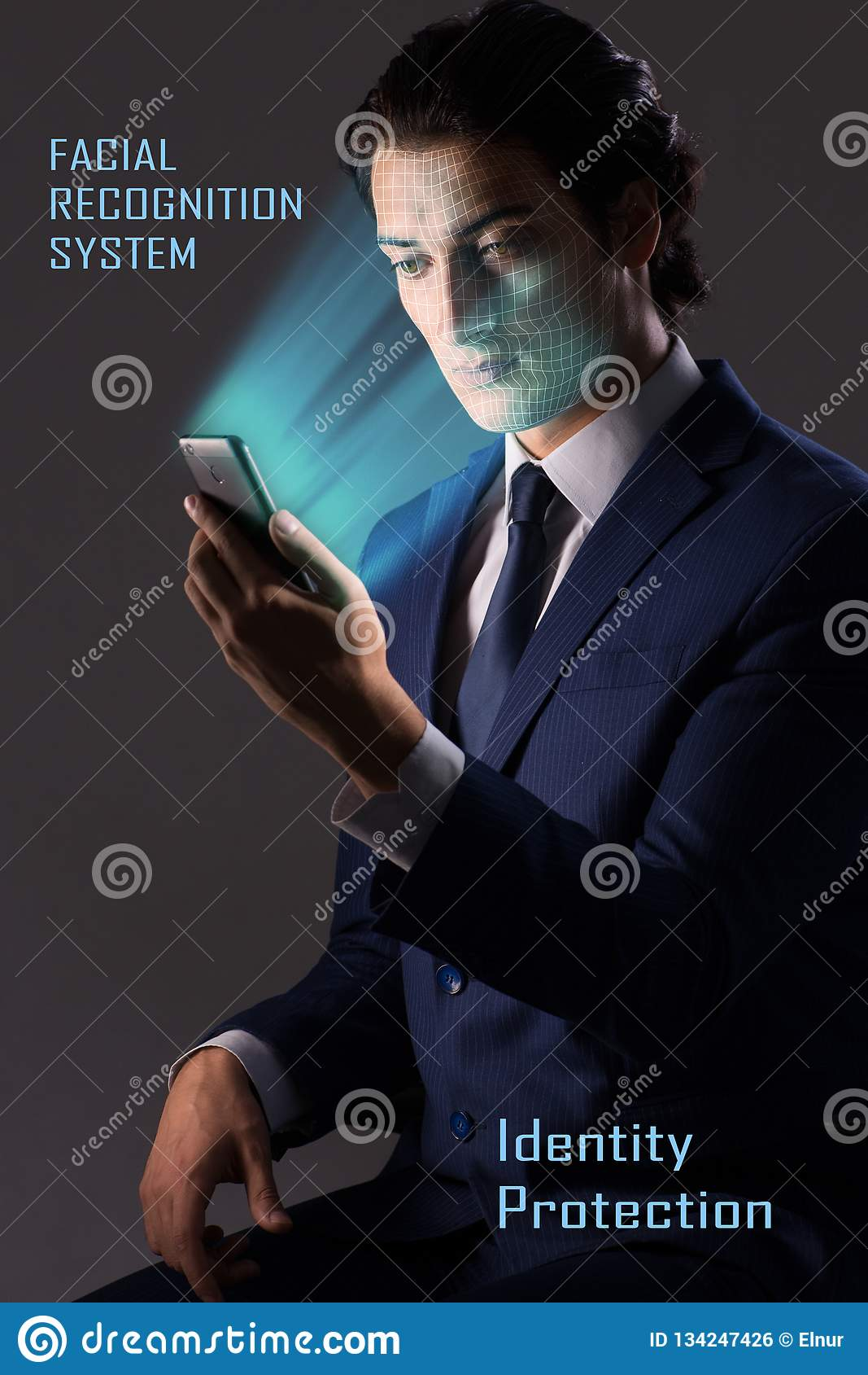 Het concept de software en de hardware van de gezichtserkenning