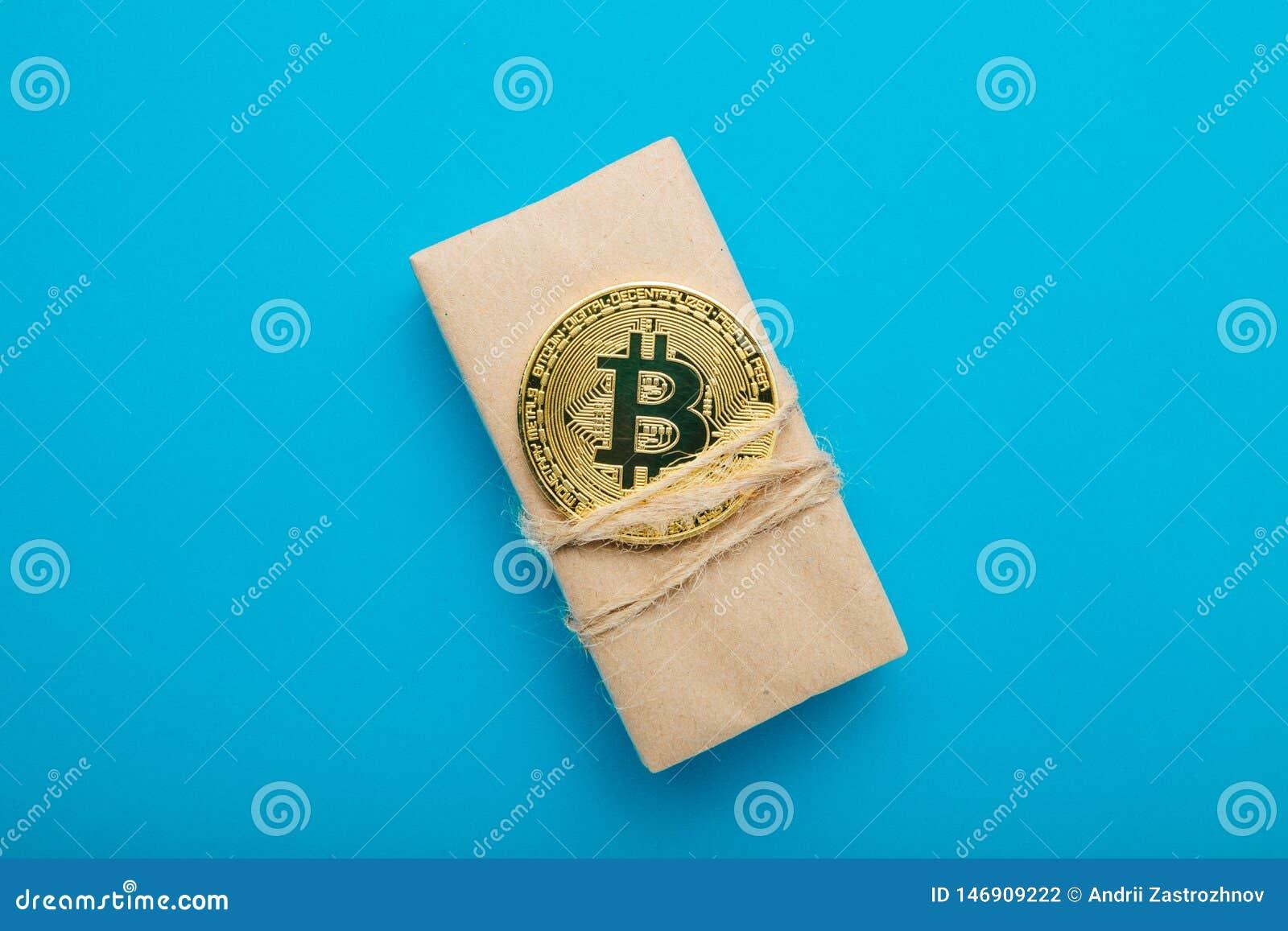 Het concept de verkoop van goederen voor crypto munt is bitcoin
