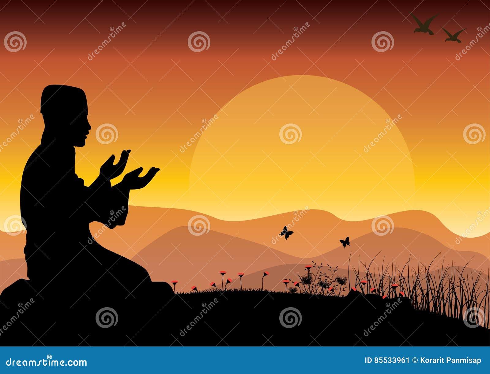Het concept godsdienst is Islam Silhouet van de mens die, en de moskee, Vectorillustraties bidden