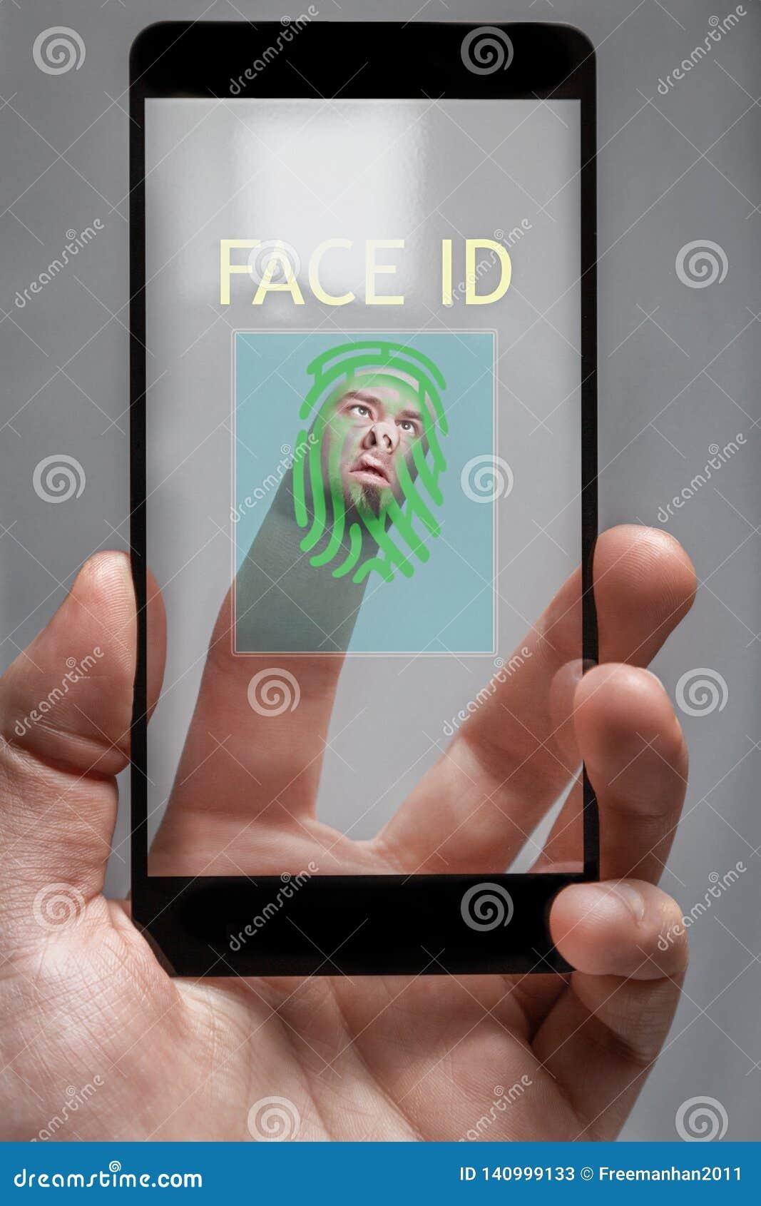 Het concept identificatie het systeem leest de vingerafdrukken van de telefooneigenaar het menselijke gezicht wordt afgeschilderd