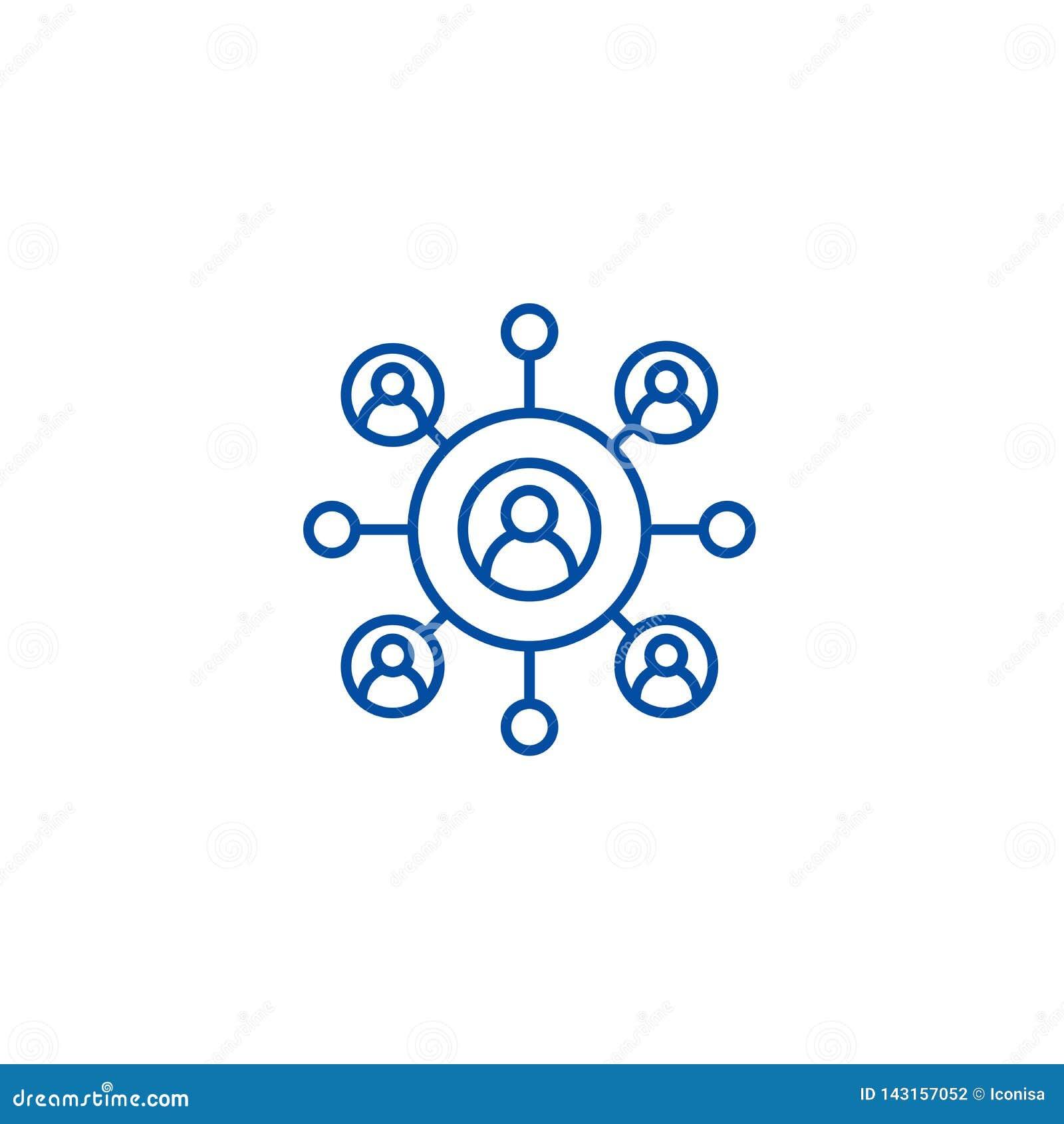Het concept netwerk van het bedrijfslijnpictogram Netwerk bedrijfs vlak vectorsymbool, teken, overzichtsillustratie