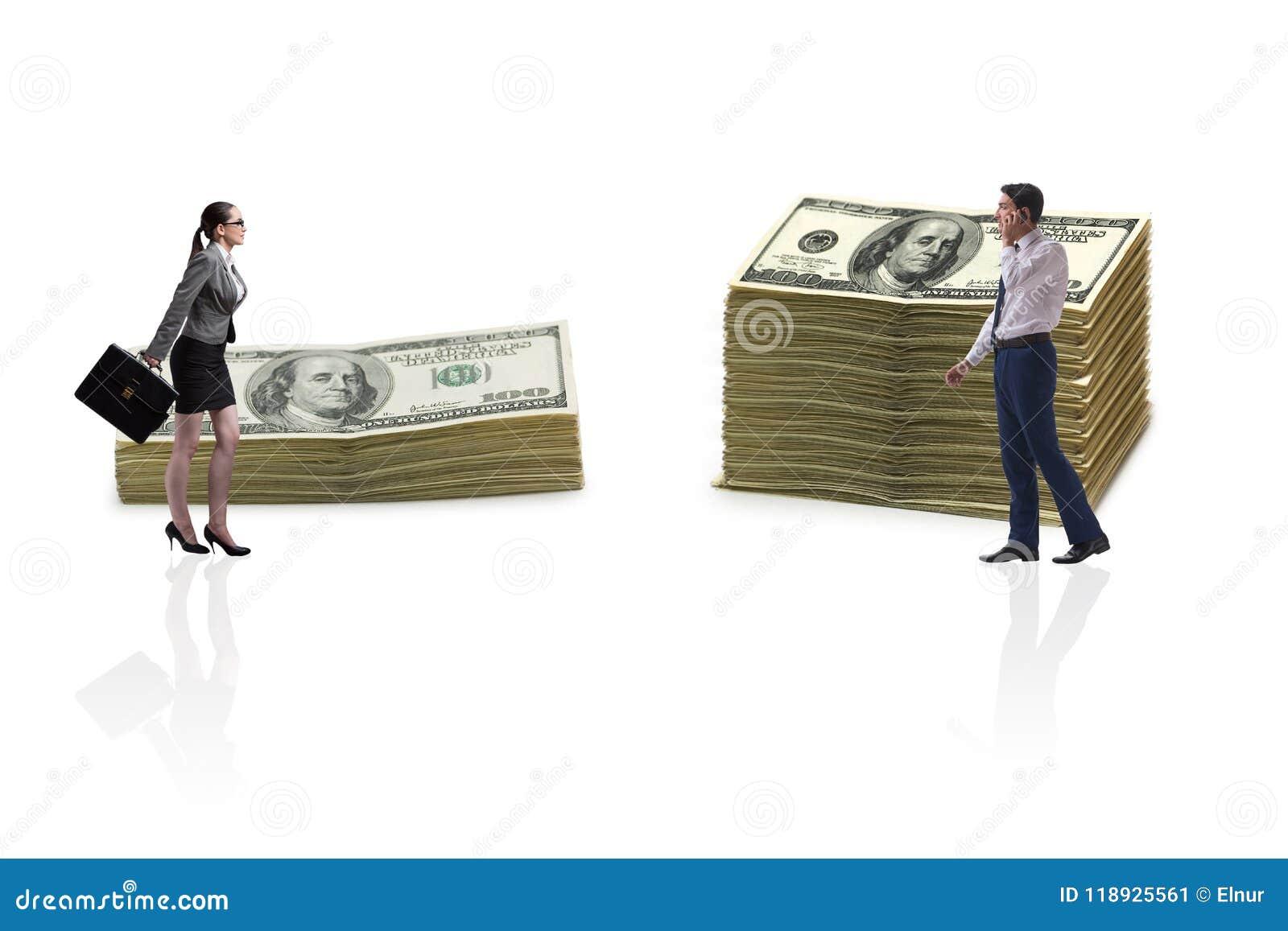 Het concept ongelijk loon en geslachtshiaat tussen man vrouw
