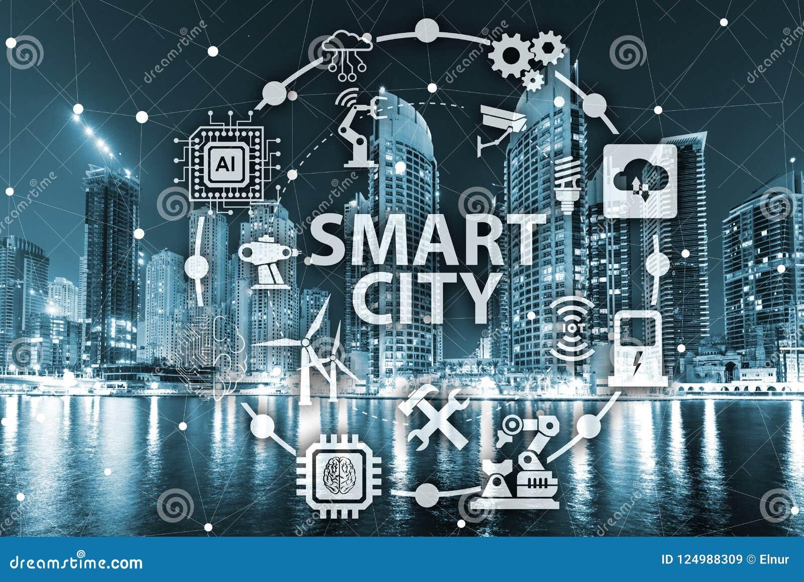 Het concept slim stad en Internet van dingen