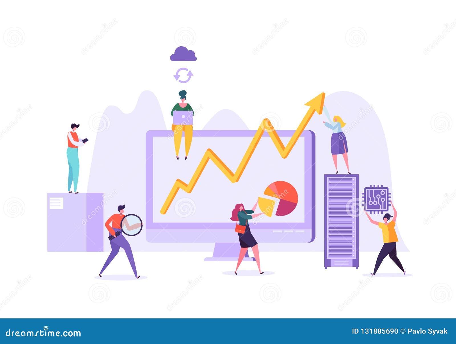 Het Concept van de bedrijfsgegevensanalyse Marketing Strategie, Analytics met Mensenkarakters die Financiële Statistiekengegevens